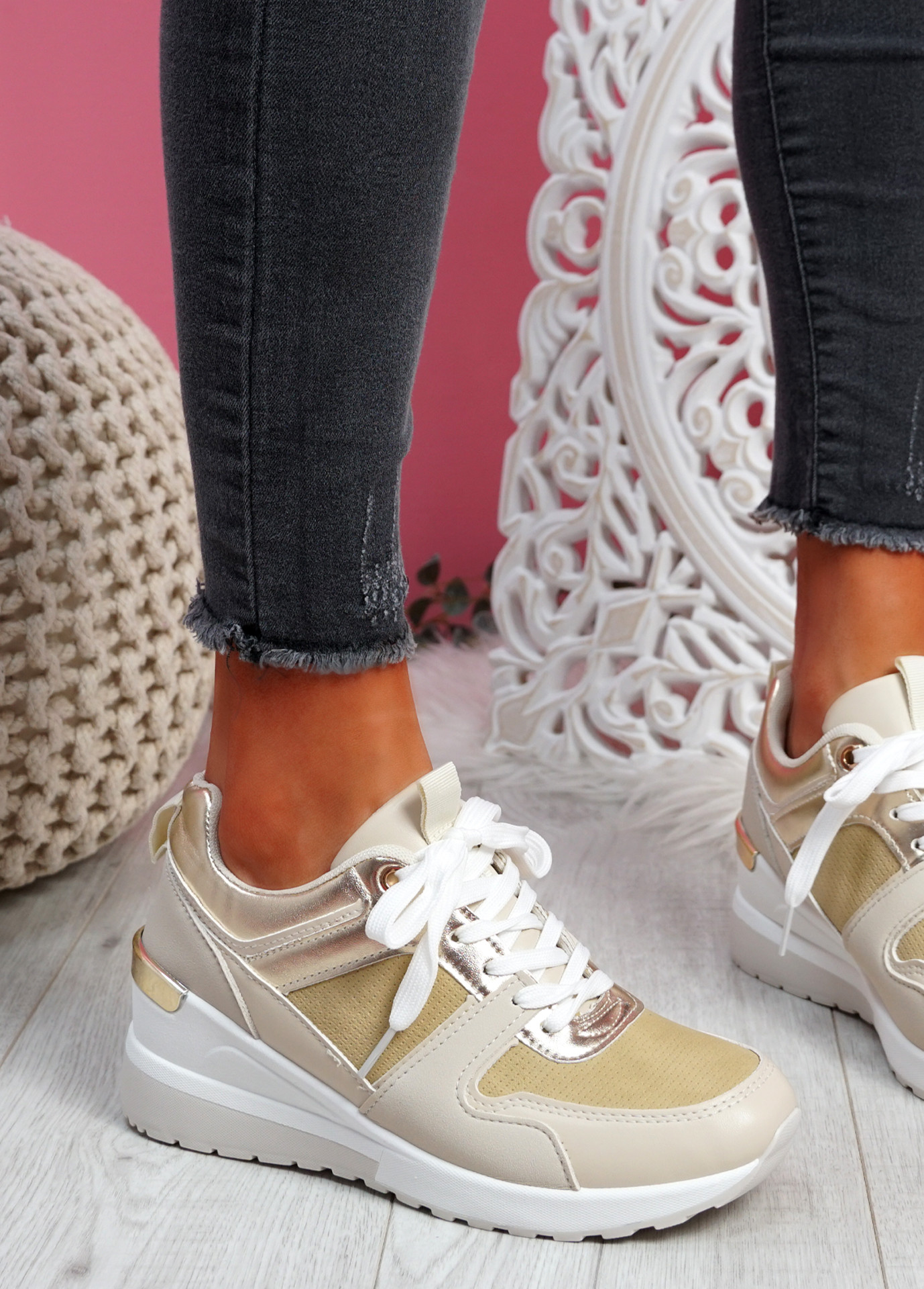 Tonne Beige Wedge Trainers