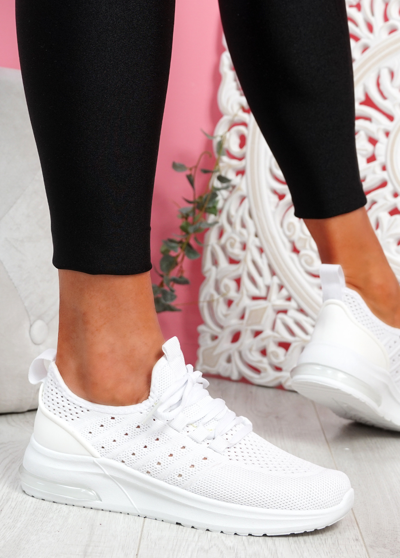 Bomy White Knit Sport Trainers