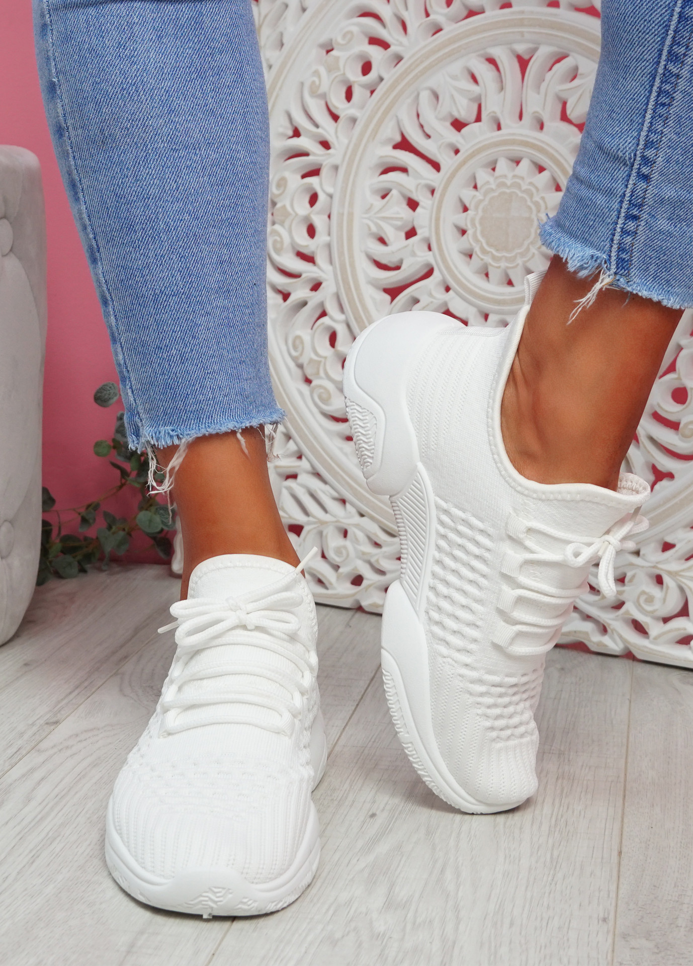 Togy White Knit Trainers