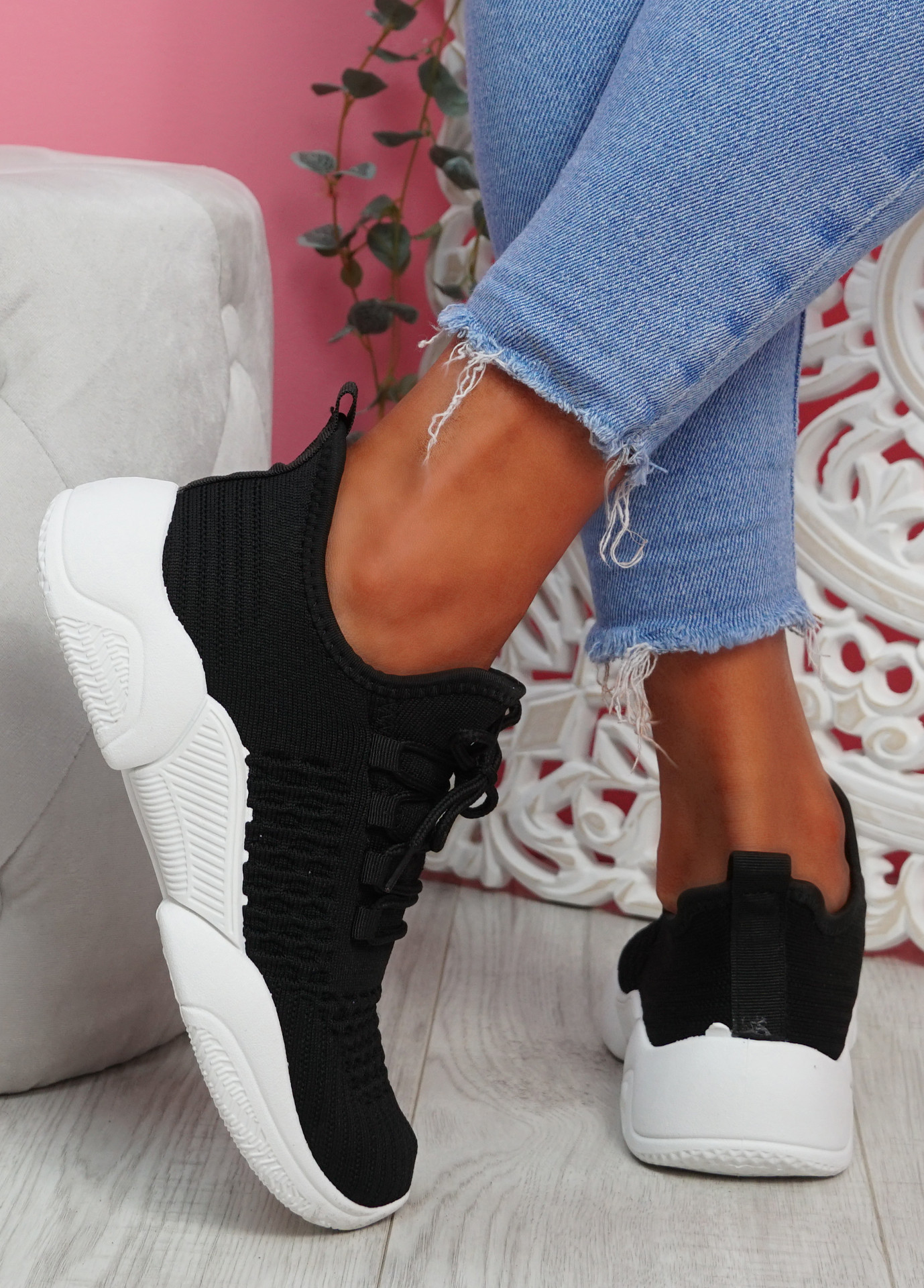 Togy Black Knit Trainers
