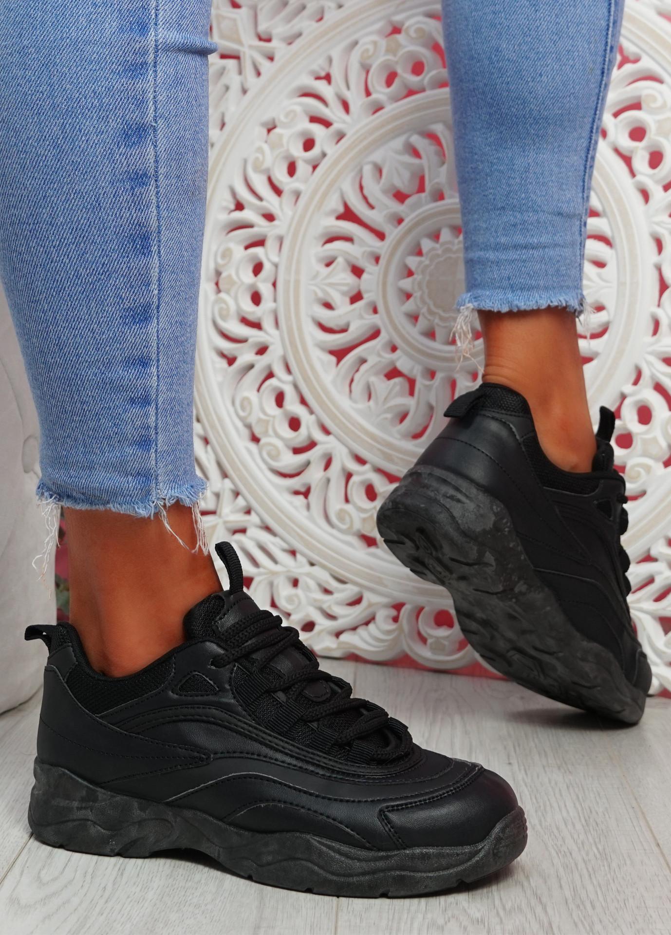Laza Black Platform Trainers