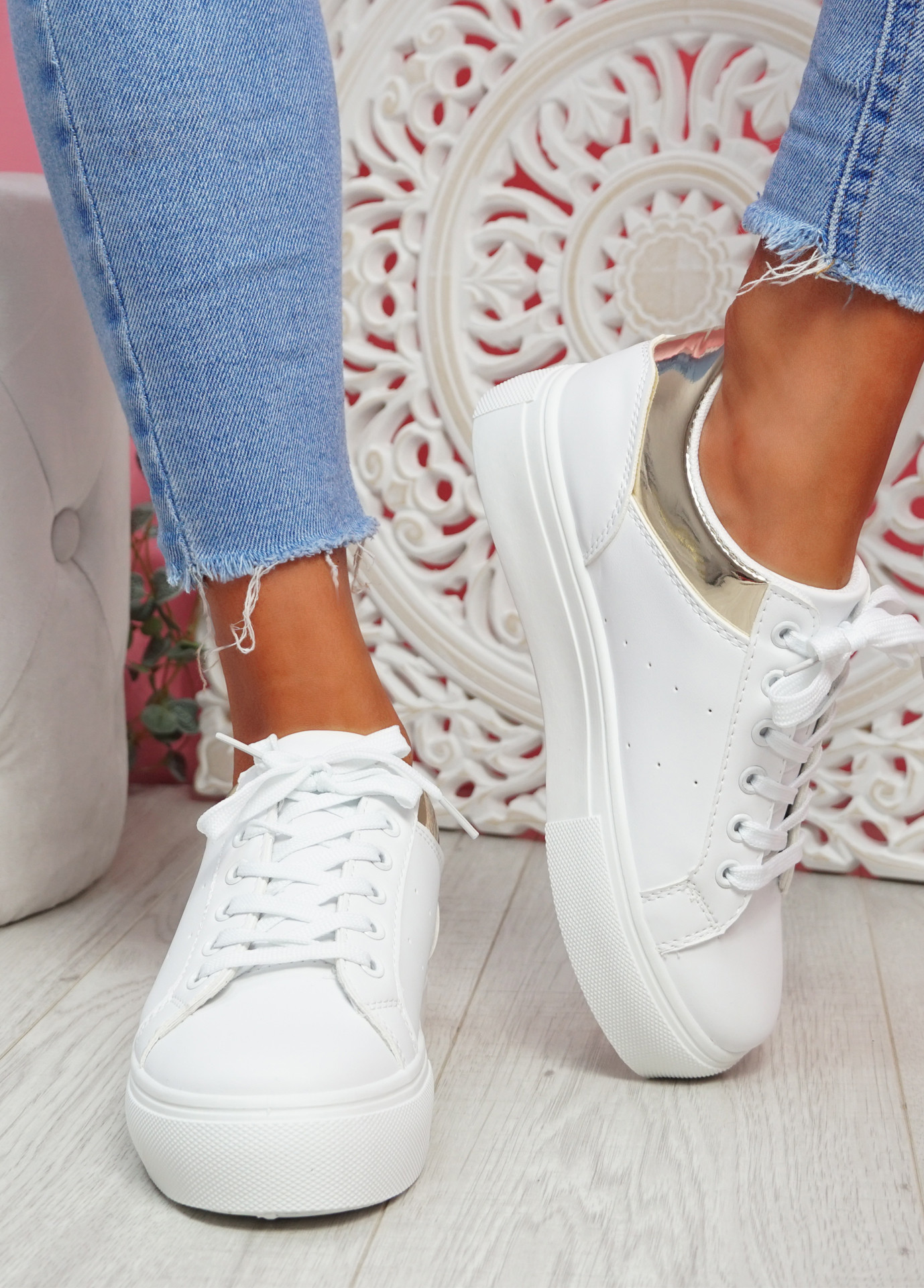 Nuby White Gold Platform Trainers