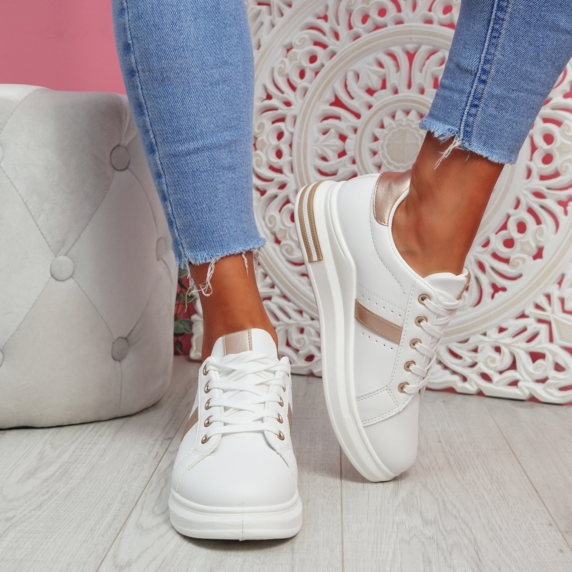 Jomy Champagne Lace Up Trainers