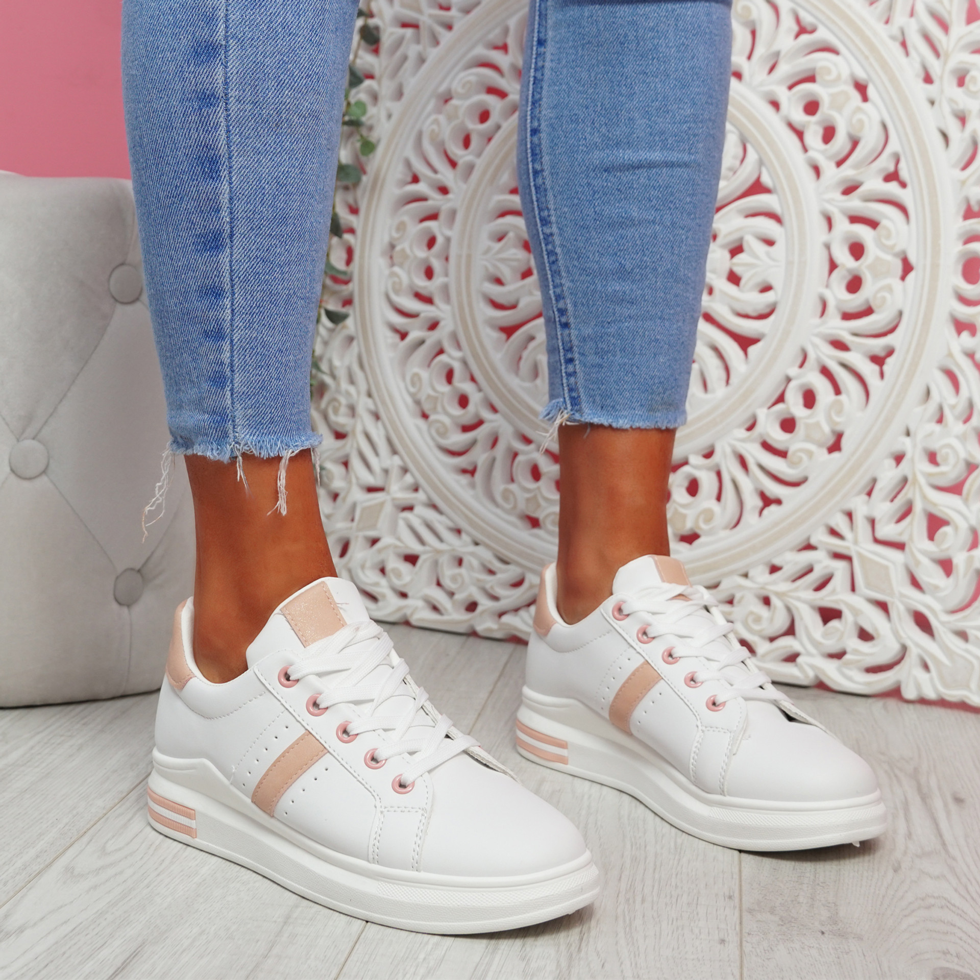 Jomy Pink Lace Up Trainers
