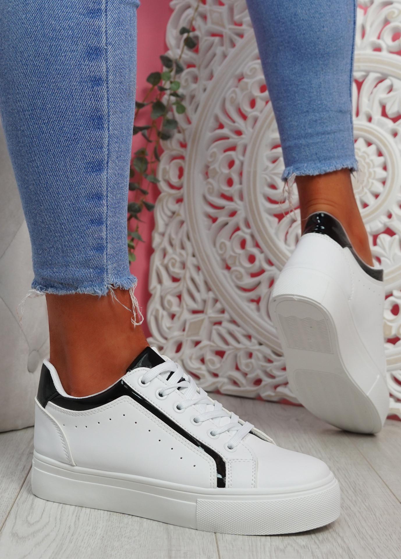 Hofa White Black Flatform Trainers