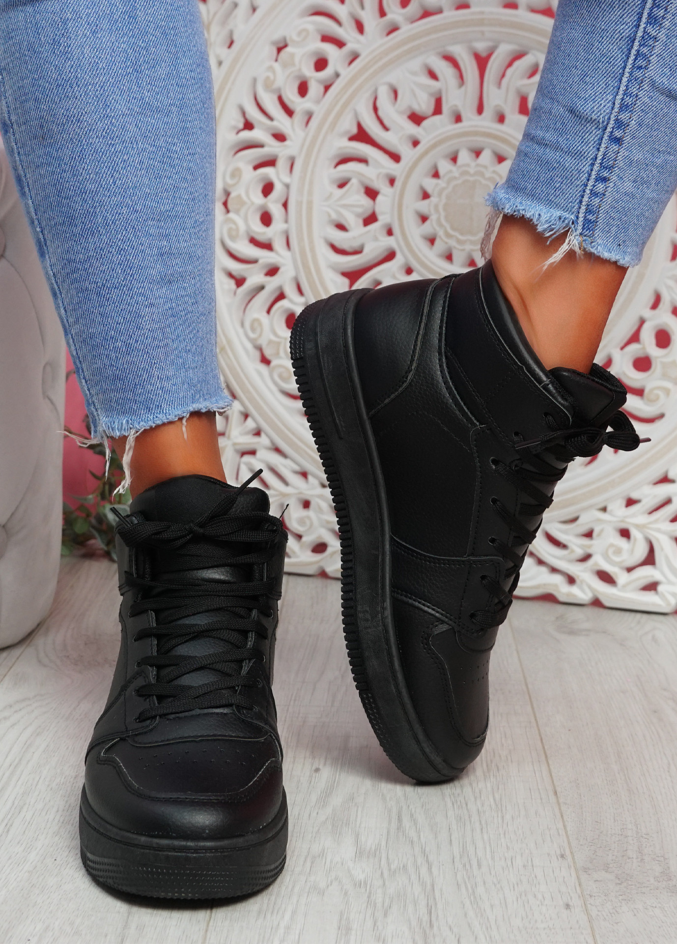 Humo All Black High Top Trainers