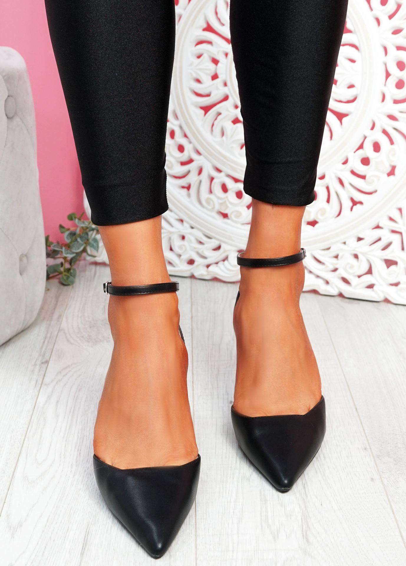 Sivo Black Stiletto Ankle Strap Pumps