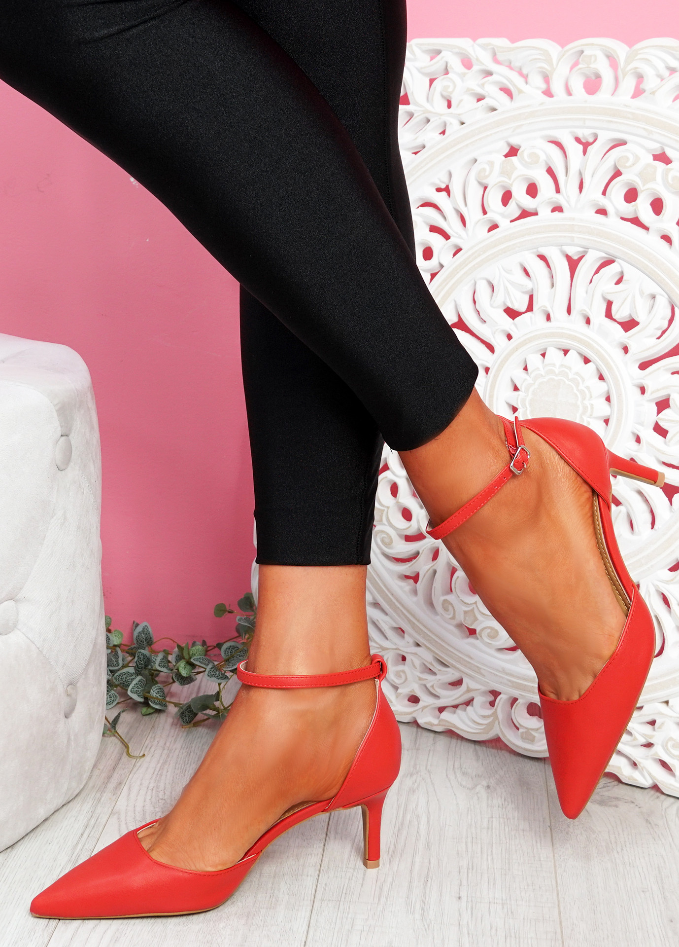 Sivo Red Stiletto Ankle Strap Pumps