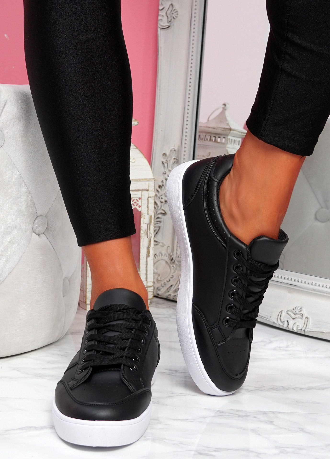 Nofy Black Lace Up Trainers
