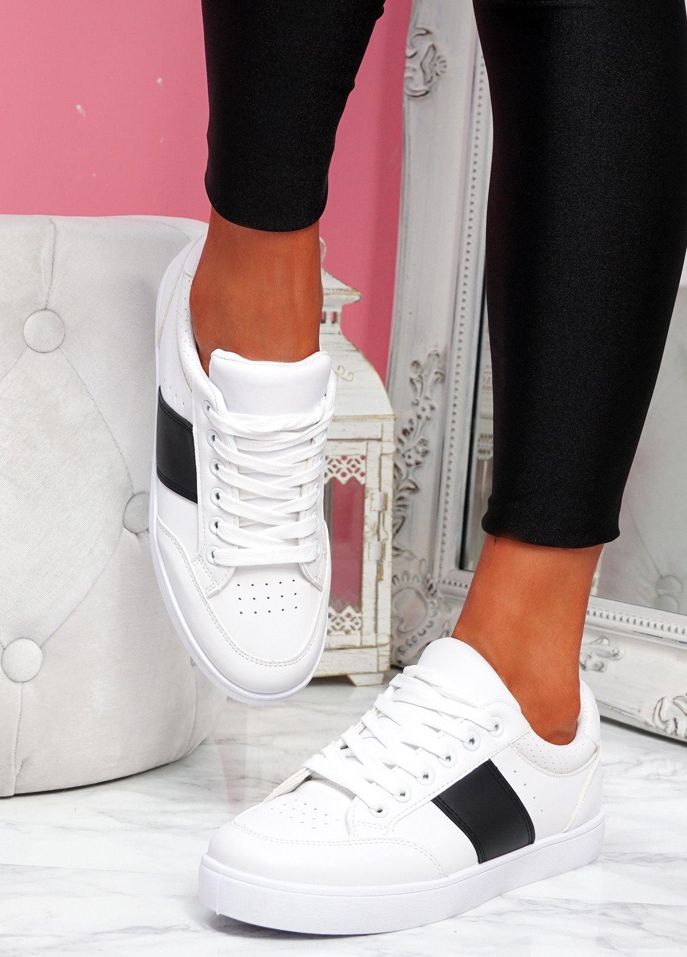 Nofy White Black Lace Up Trainers
