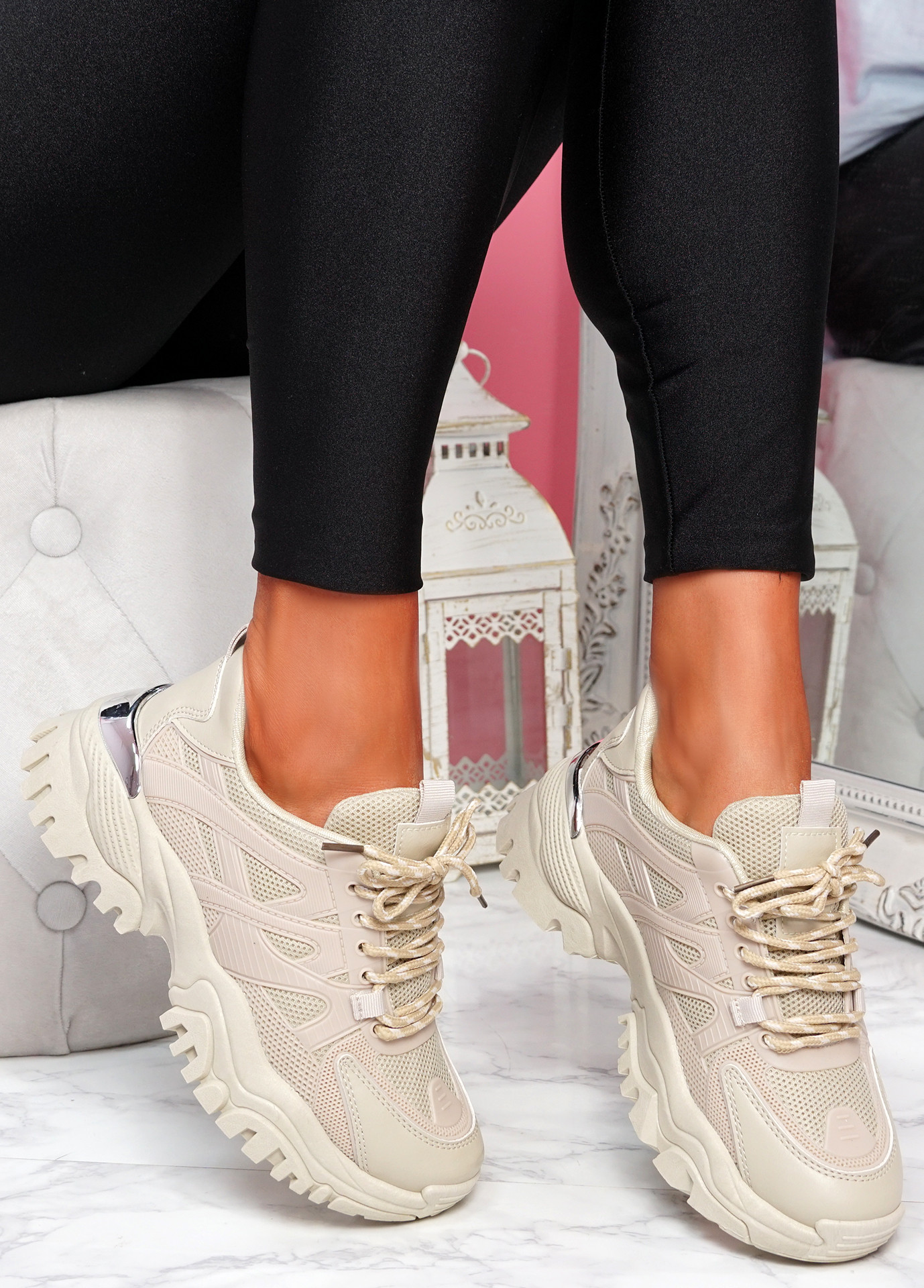 Goty Stone Beige Chunky Sneakers