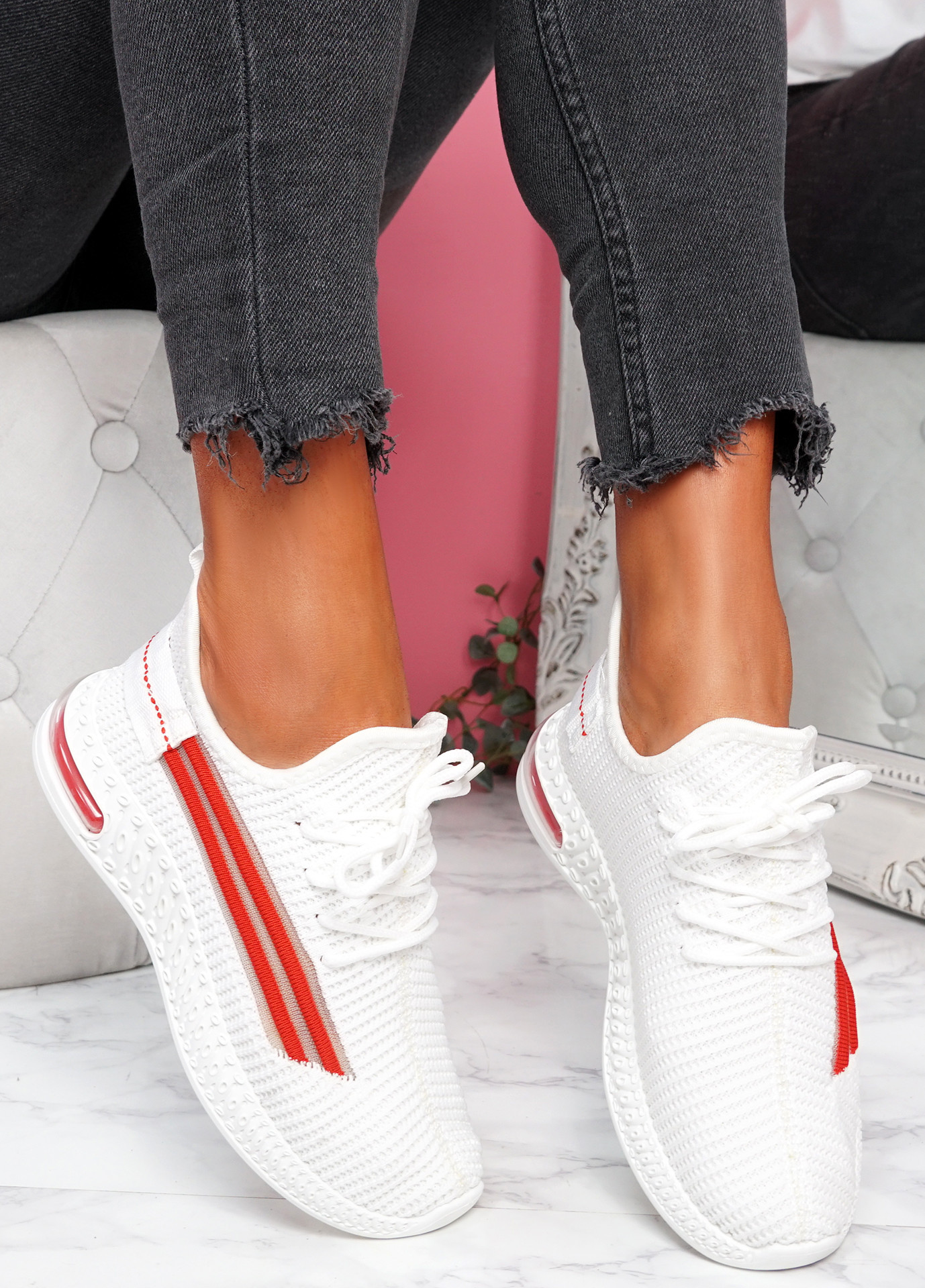 Gonna White Knit Sneakers