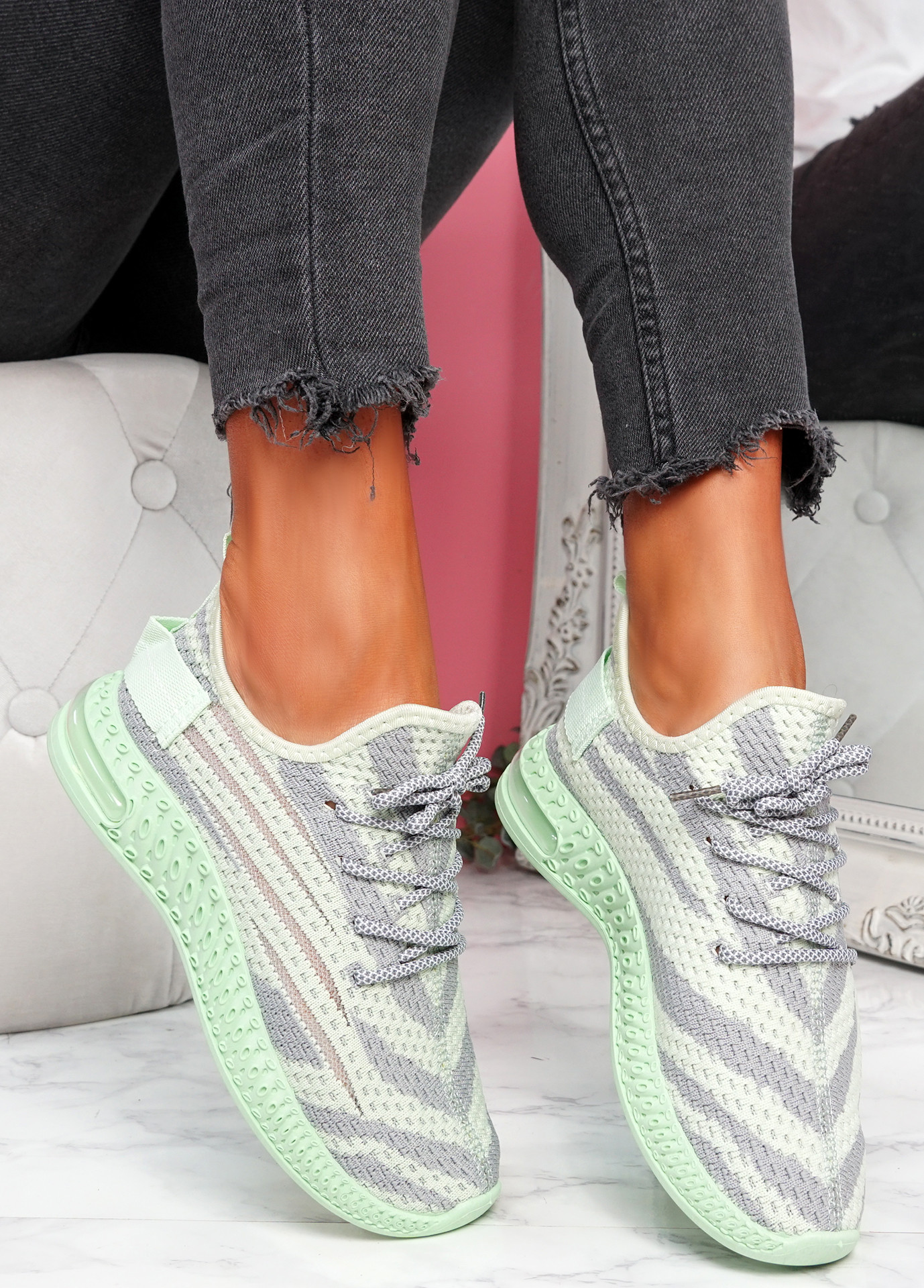 Paga Green Knit Trainers
