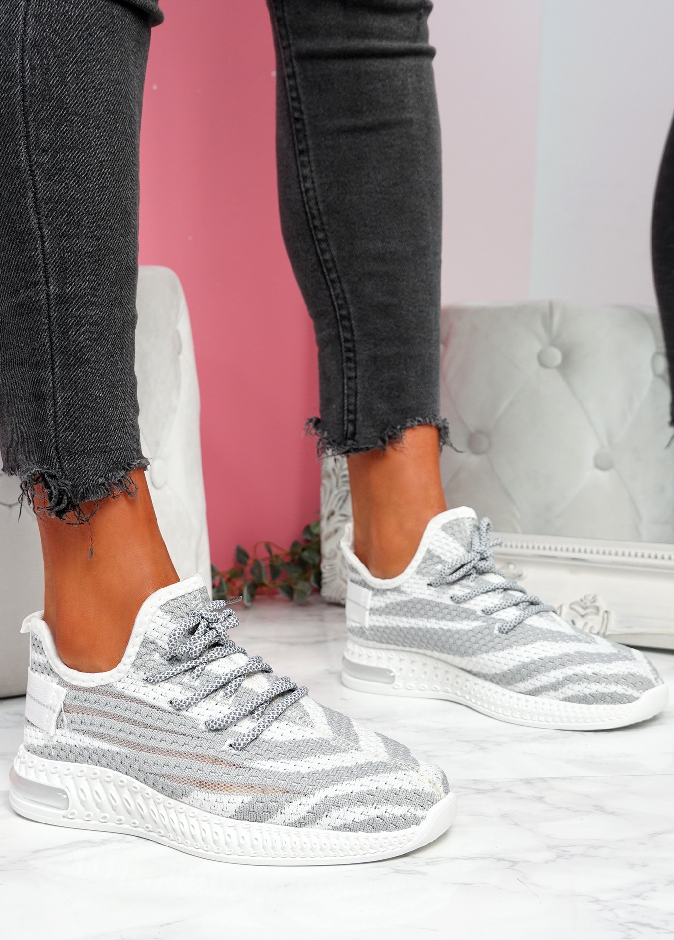 Paga Grey Knit Trainers