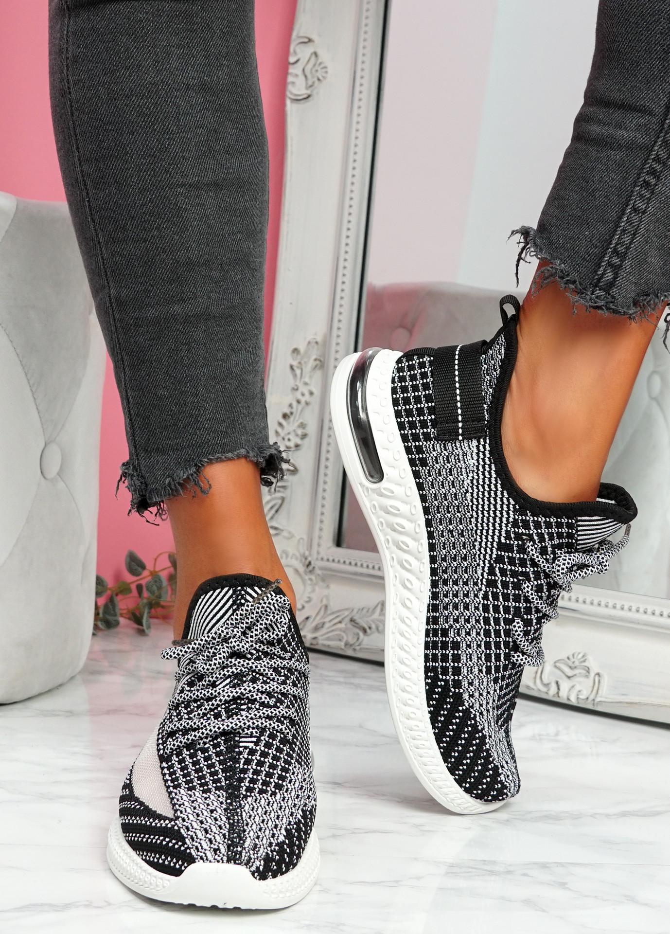 Flery Black Knit Sport Sneakers