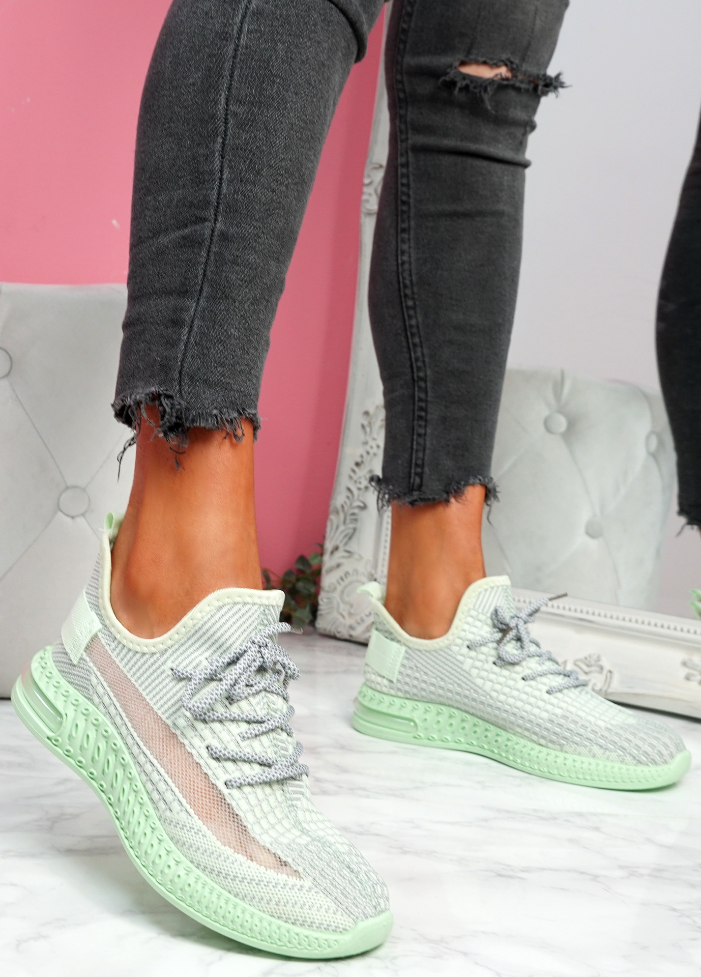 Flery Green Knit Sport Sneakers