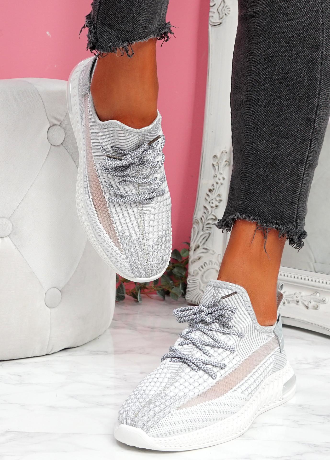 Flery Grey Knit Sport Sneakers