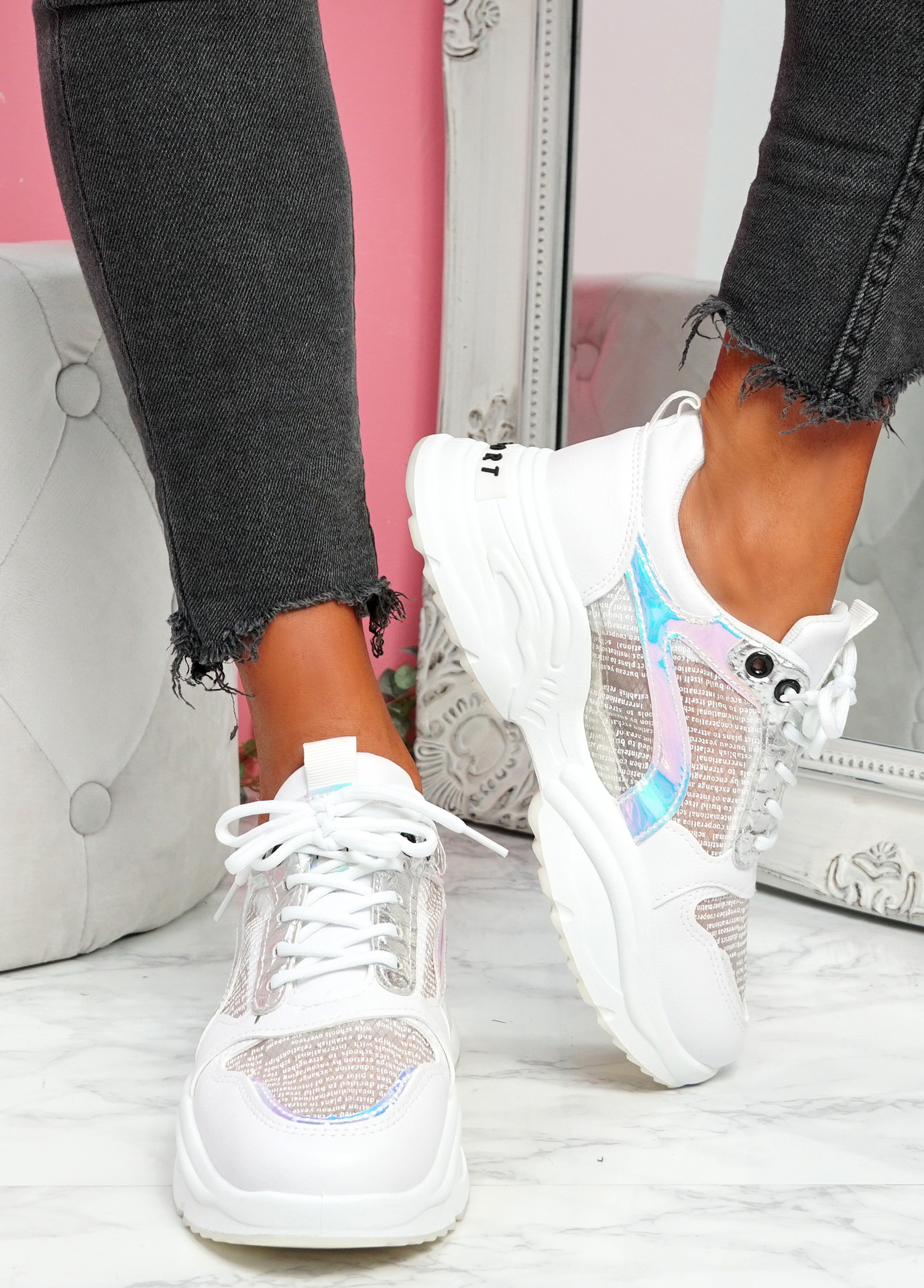 Lare White Chunky Sneakers