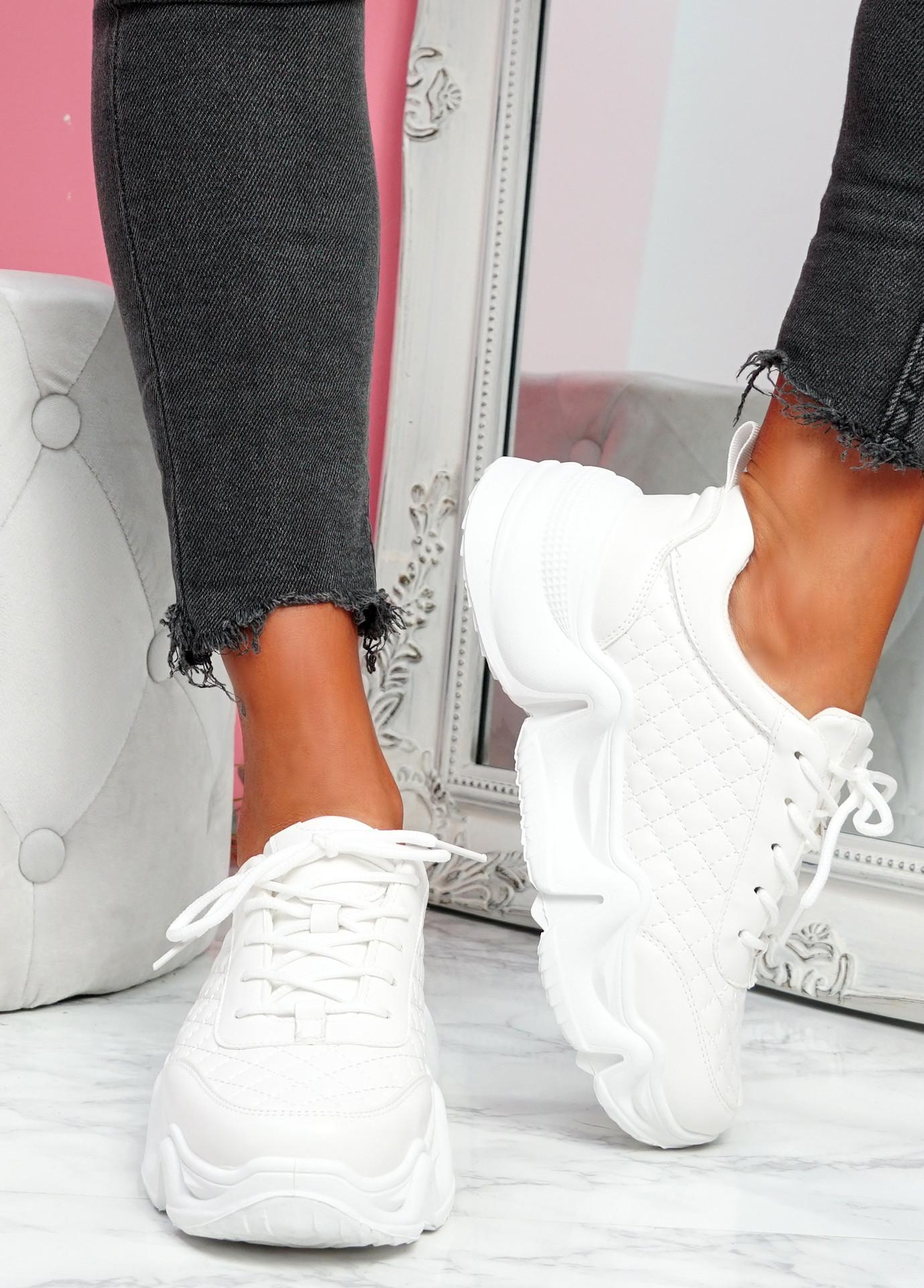 Joze White Pu Chunky Sneakers