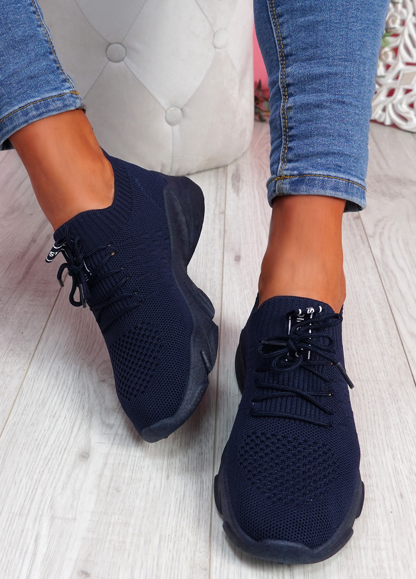 Donny Navy Lace Knit Sneakers