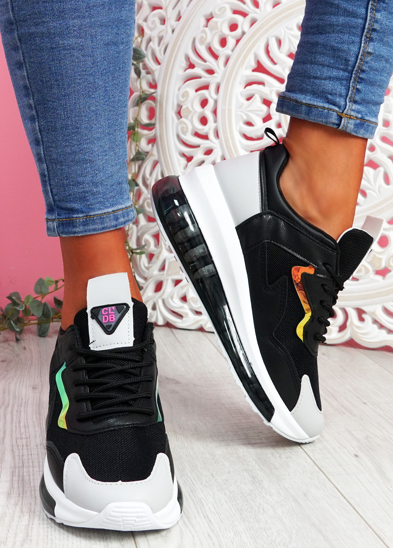 Goma Black Clear Heel Trainers