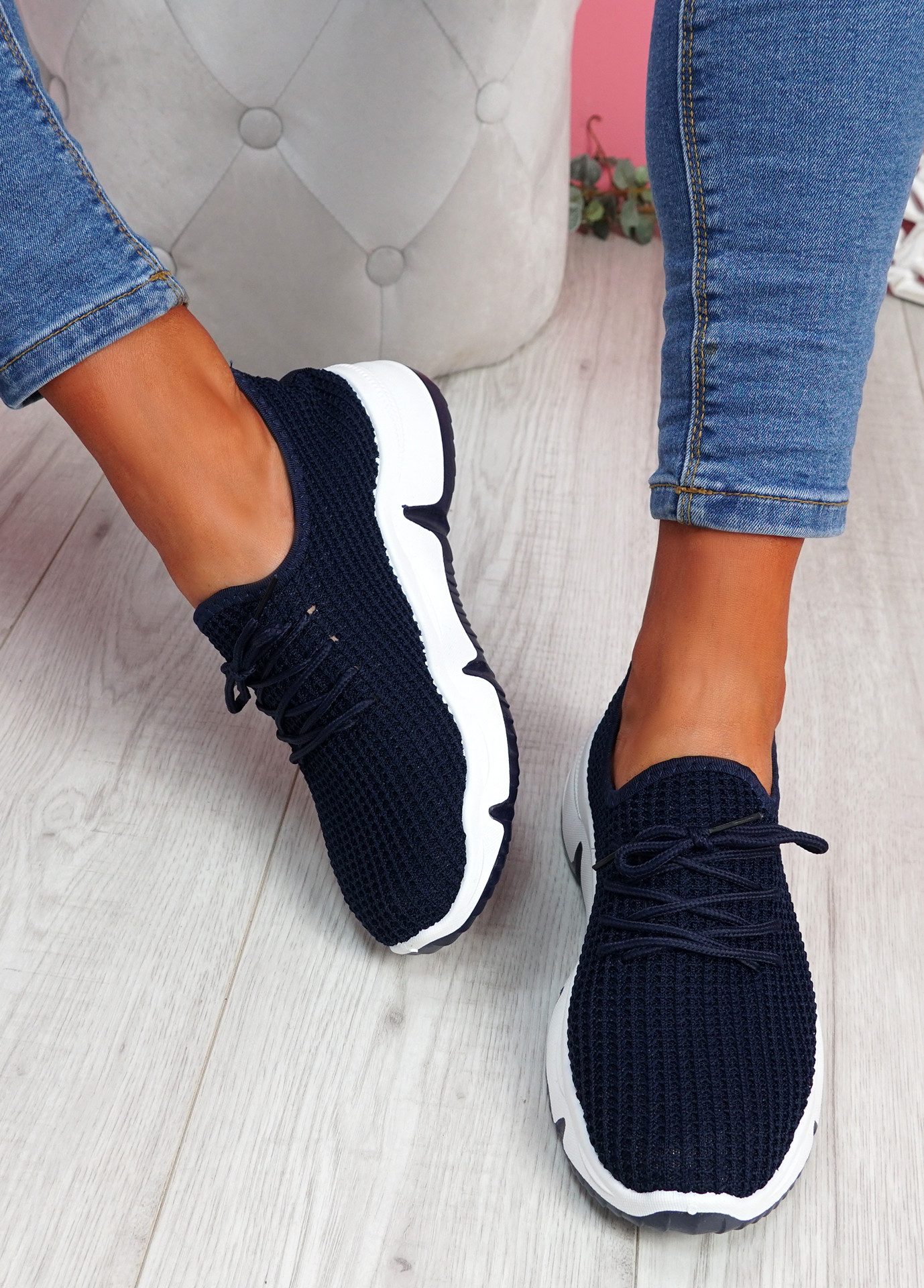 Isso Navy Knit Running Trainers