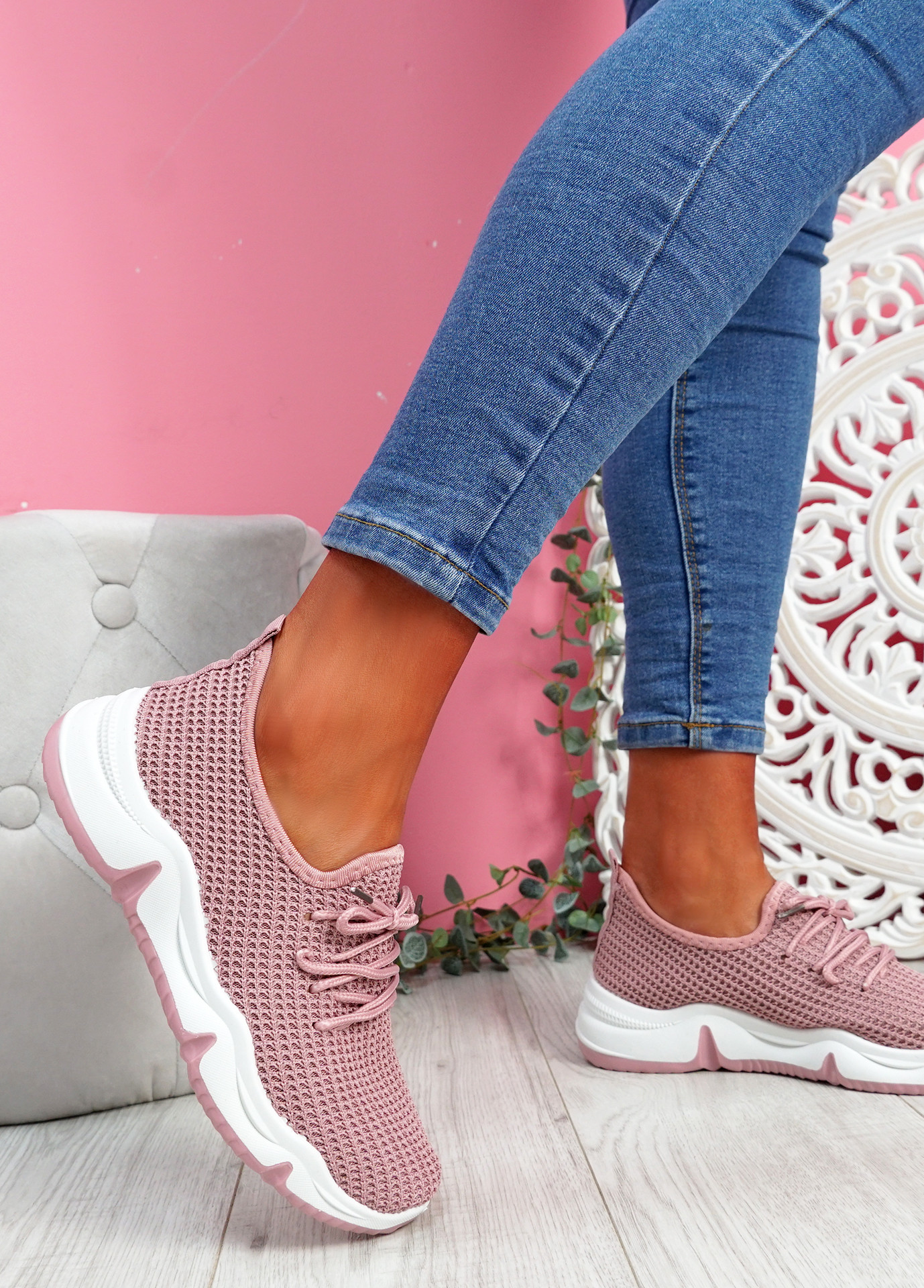 Isso Pink Knit Running Trainers