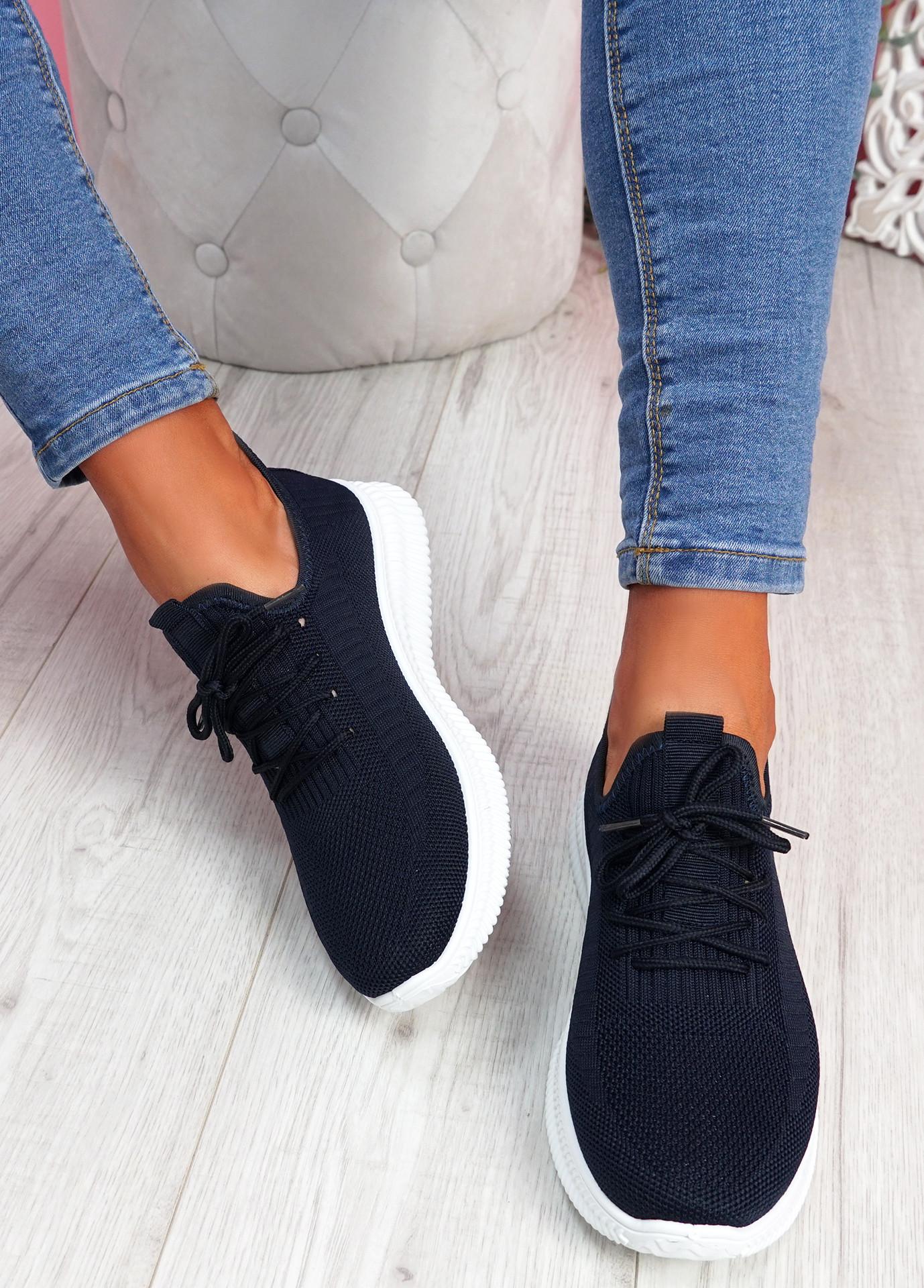 Fovy Navy Knit Running Sneakers