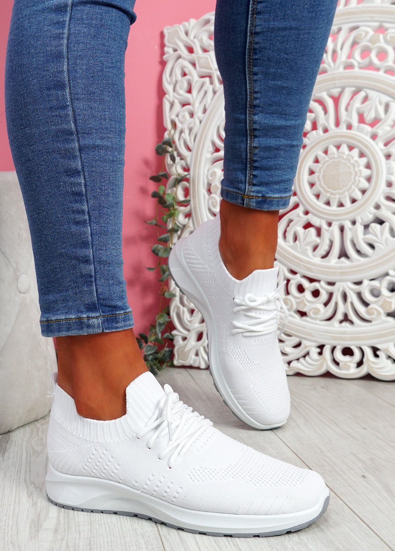 Bany White Knit Running Trainers