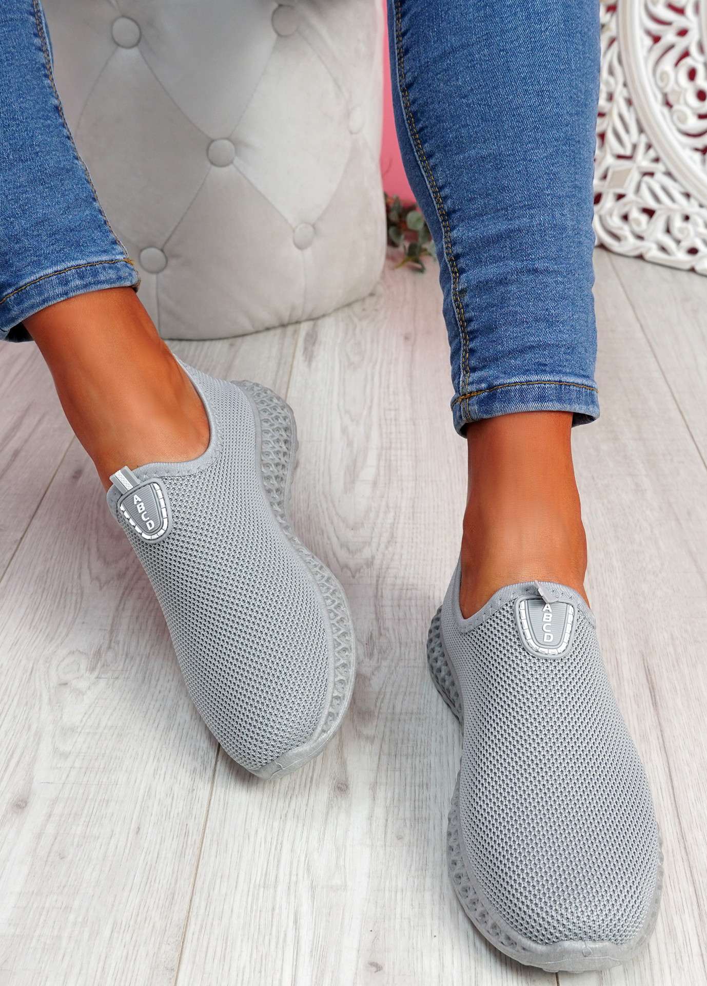 Heny Grey Slip On Trainers
