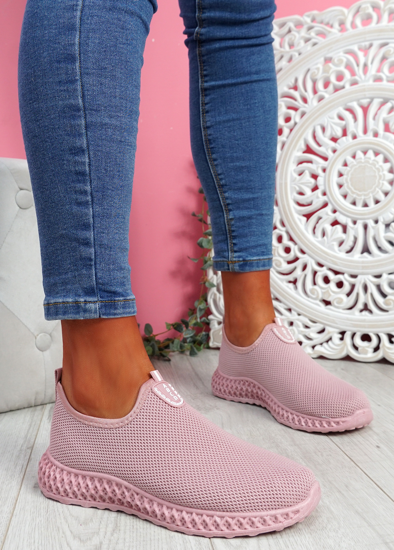 Heny Pink Slip On Trainers