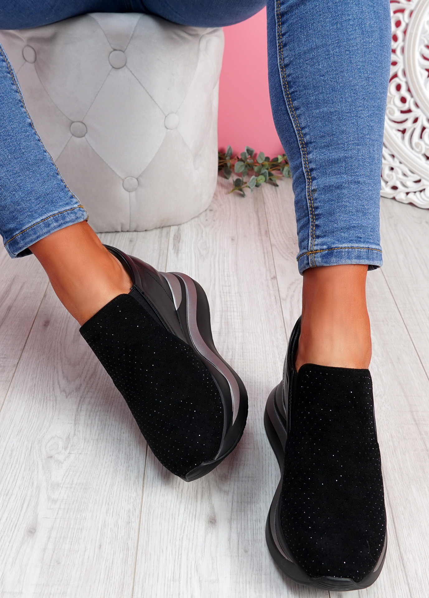Lusa Black Studded Heel Trainers
