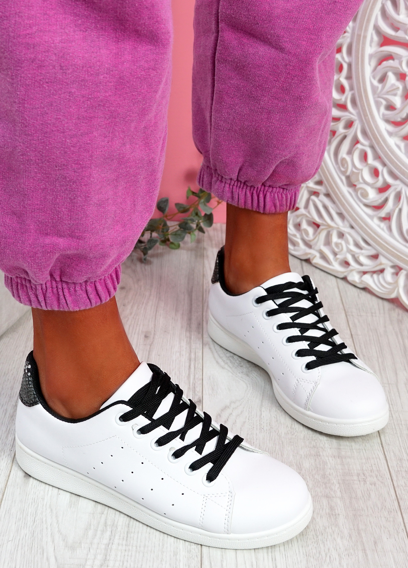 Fone Black Snake Lace Up Trainers