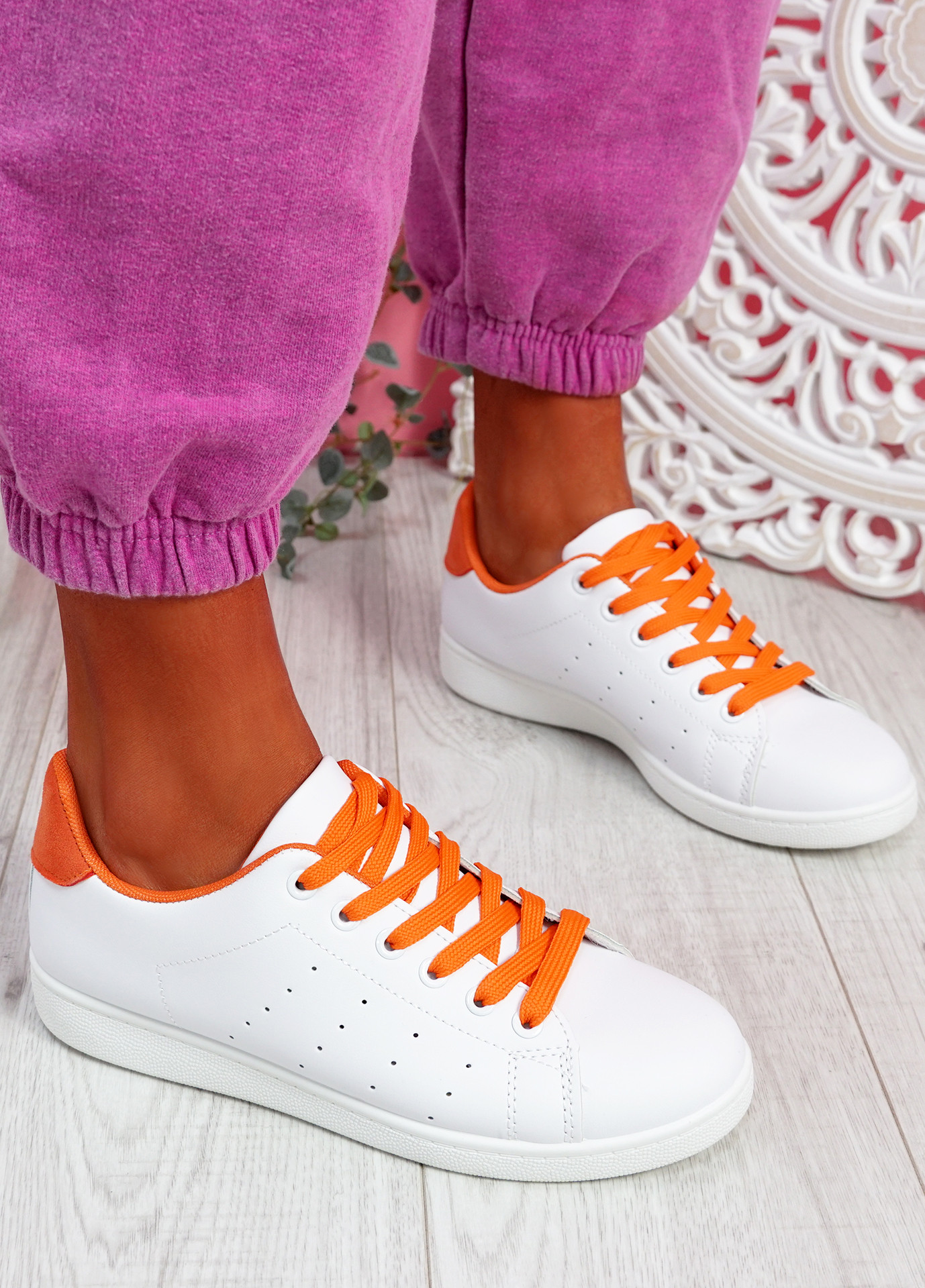 Fone White Orange Lace Up Trainers