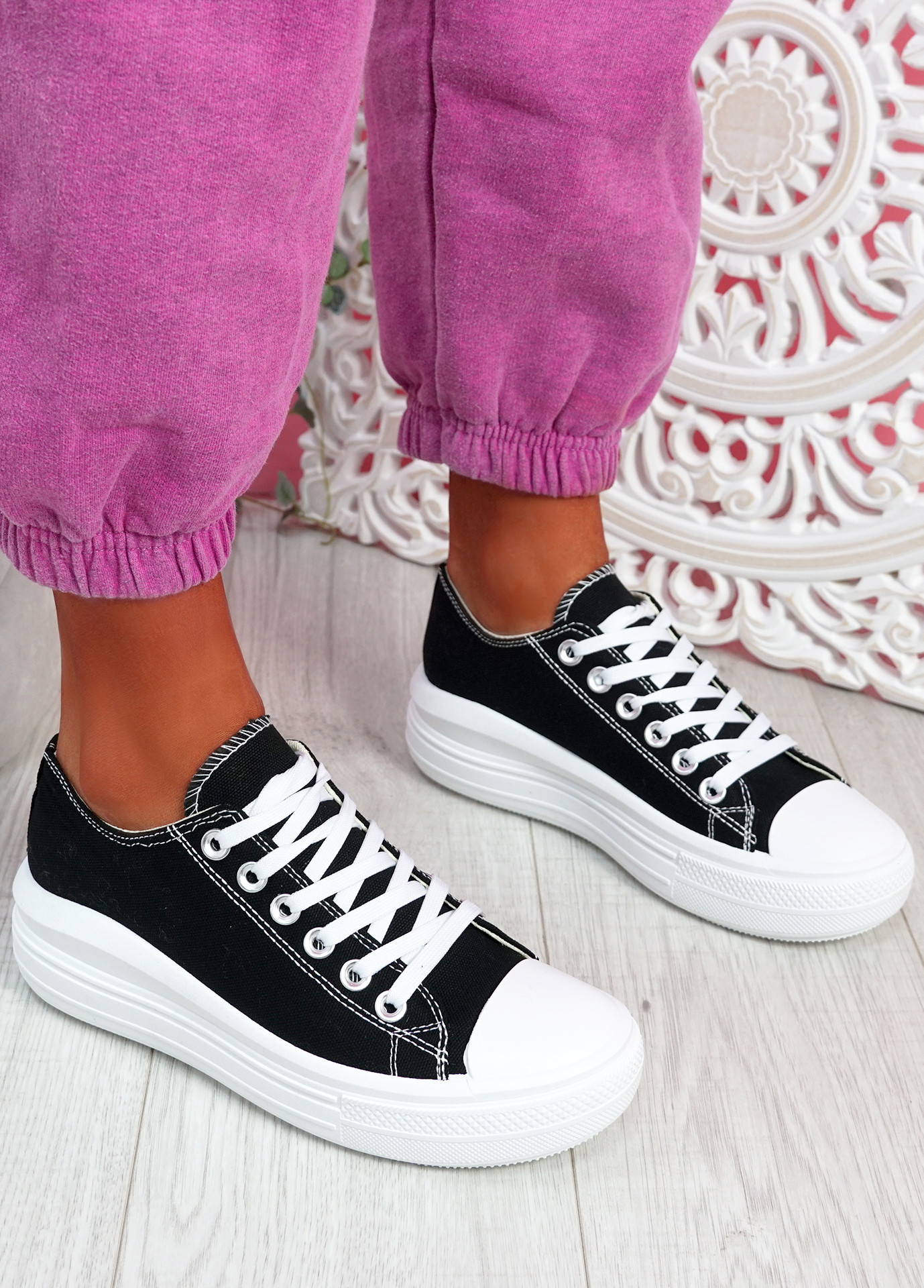 Firre Black Lace Up Sport Trainers