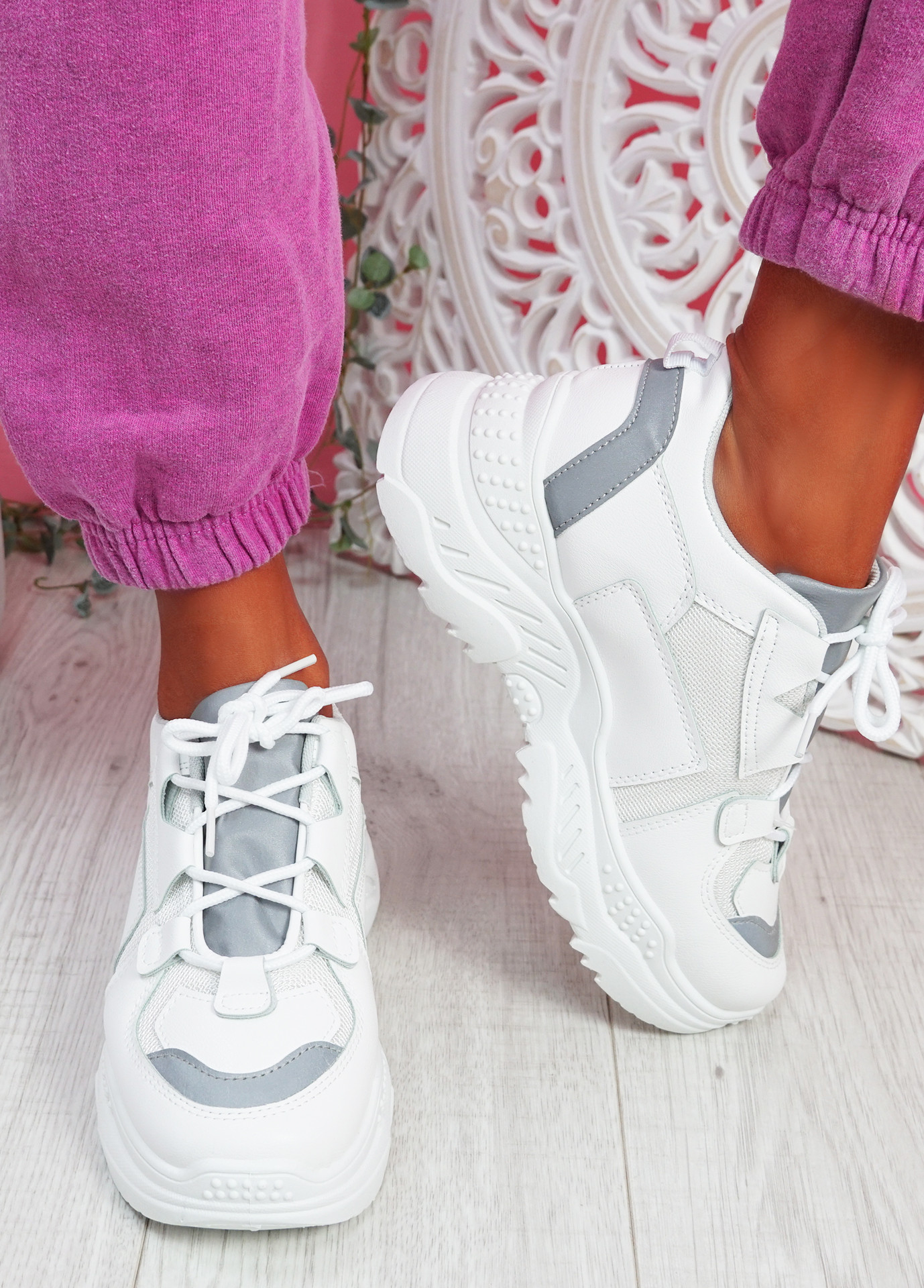 Hopy White Chunky Sneakers