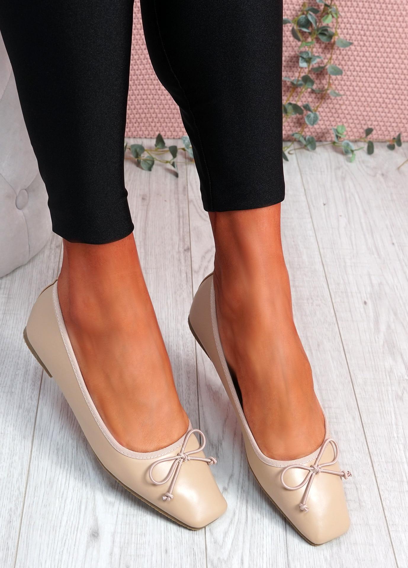 Vonno Apricot Square Toe Ballerinas