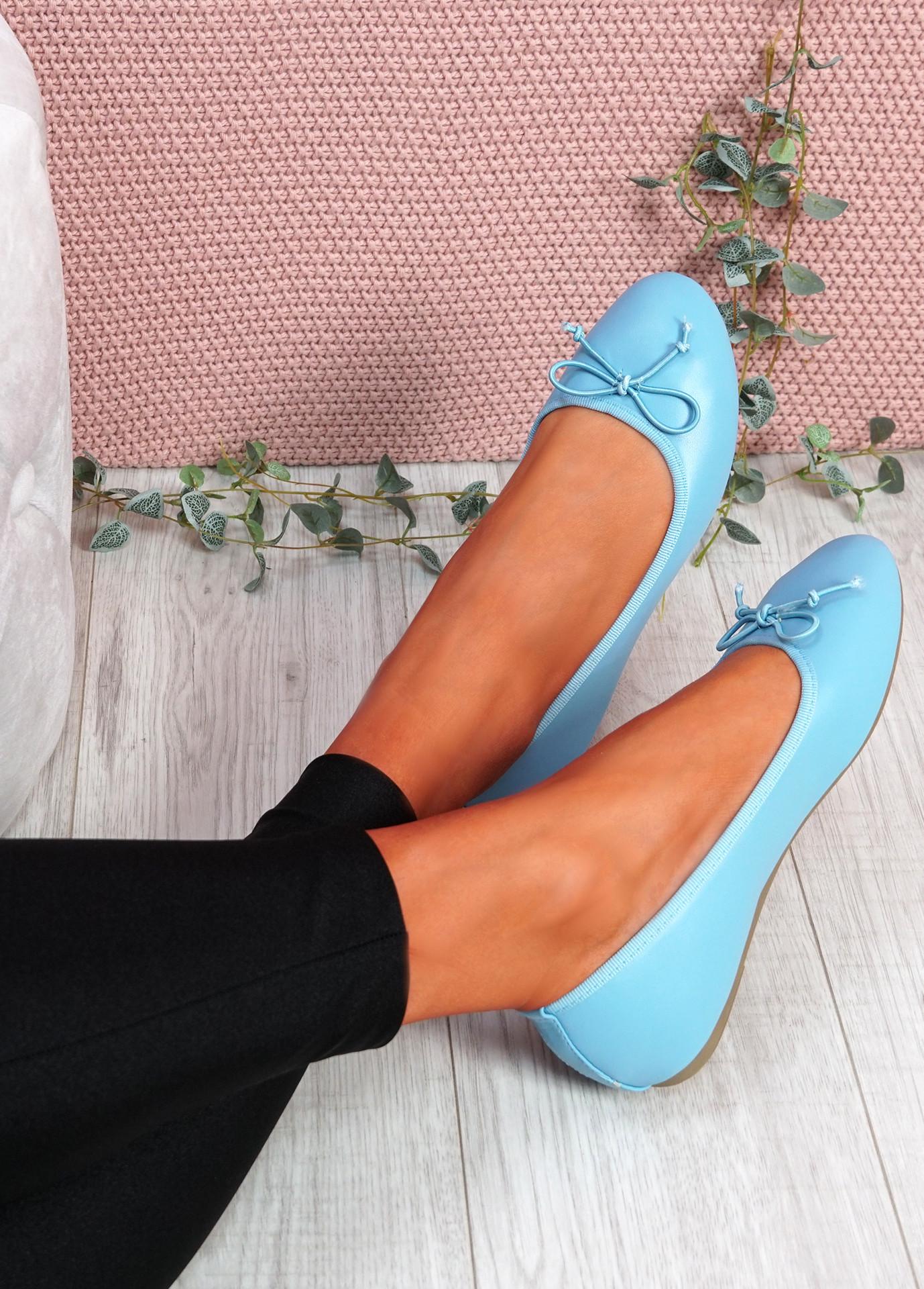Nimey Light Blue Bow Flat Ballerinas