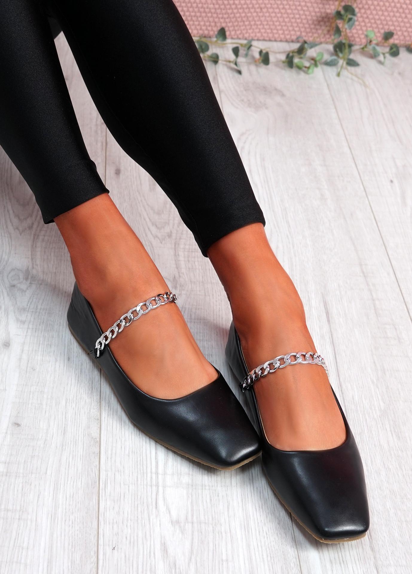 Binna Chain Black Ballerinas