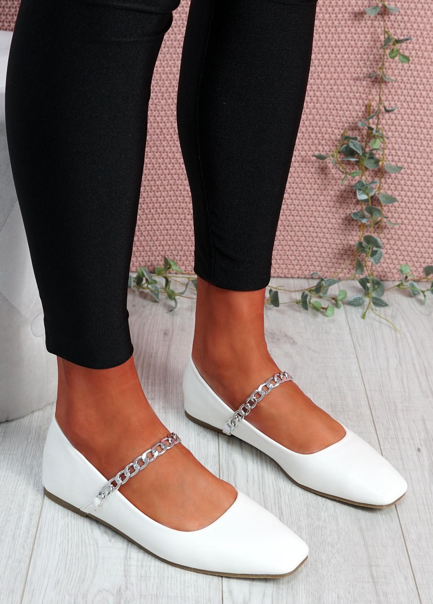 Binna Chain White Ballerinas
