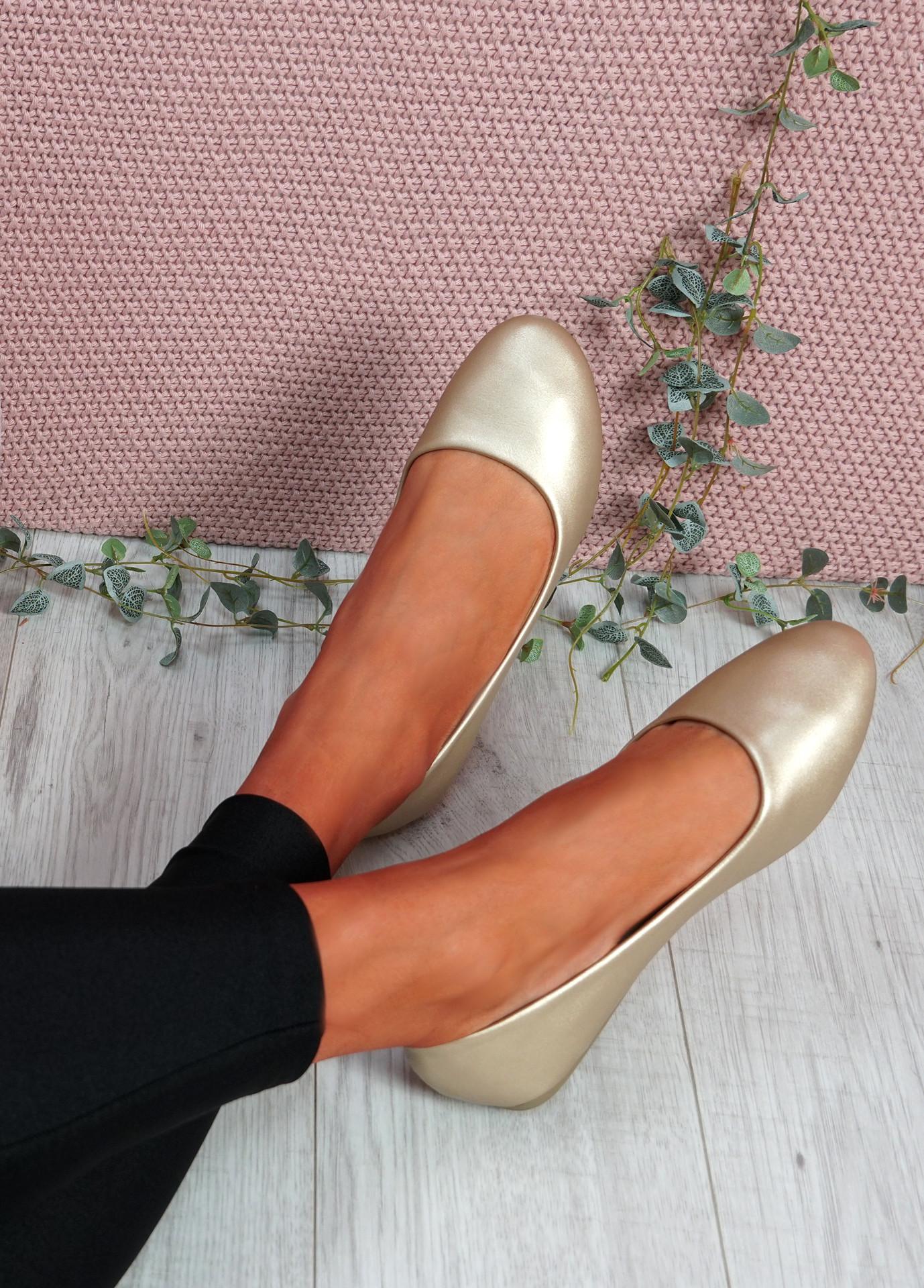 Boddy Gold Slip On Ballerinas