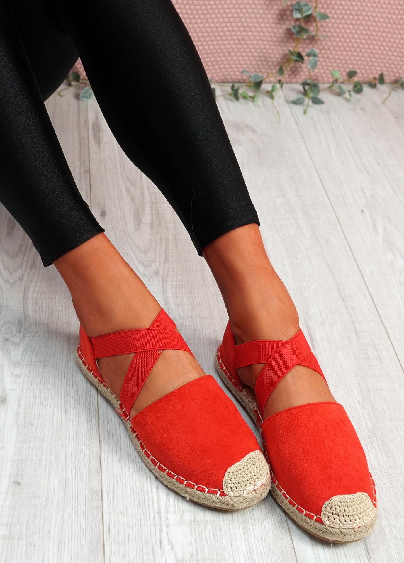 Fove Red Espadrille Ballerinas