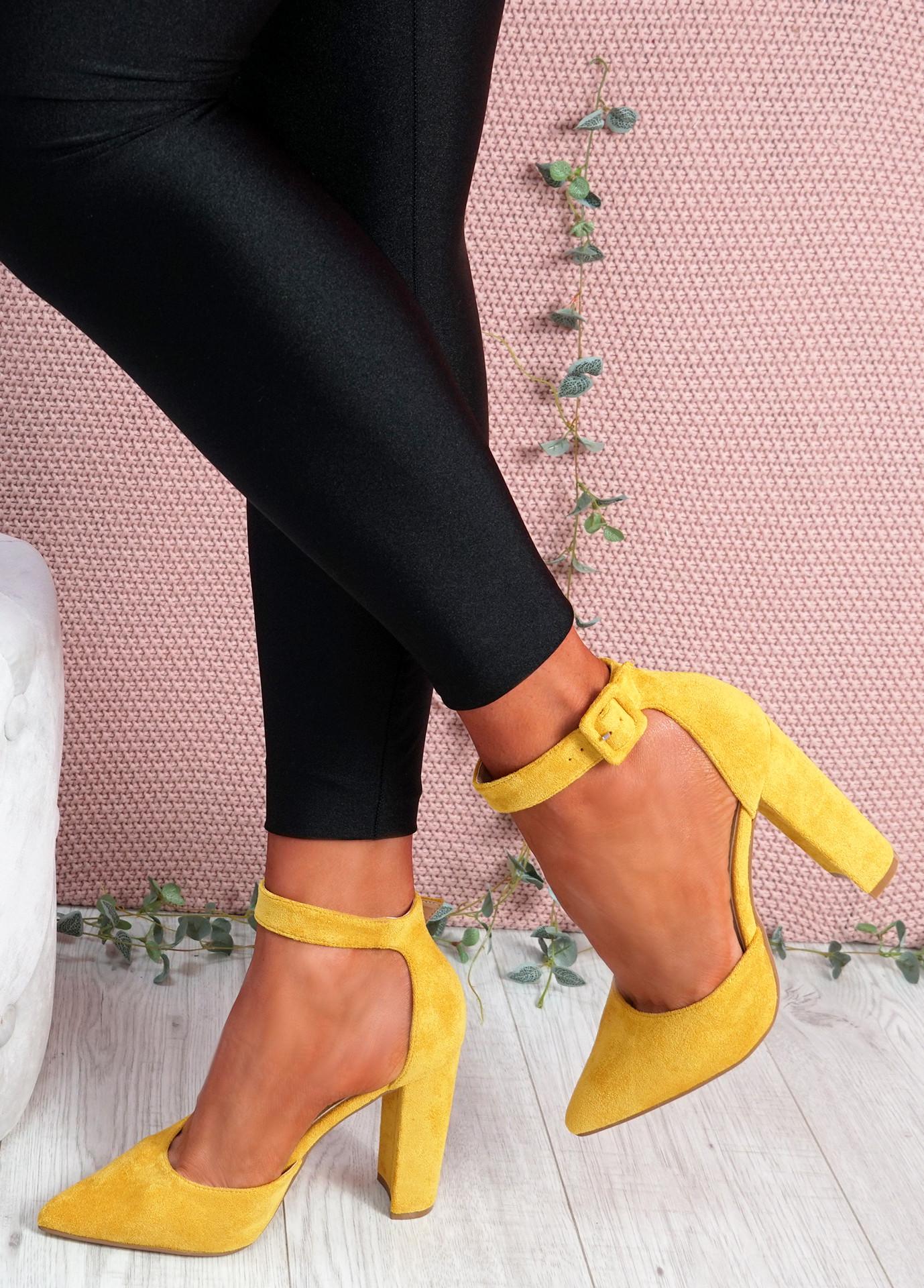 Pofa Yellow High Block Heel Pumps