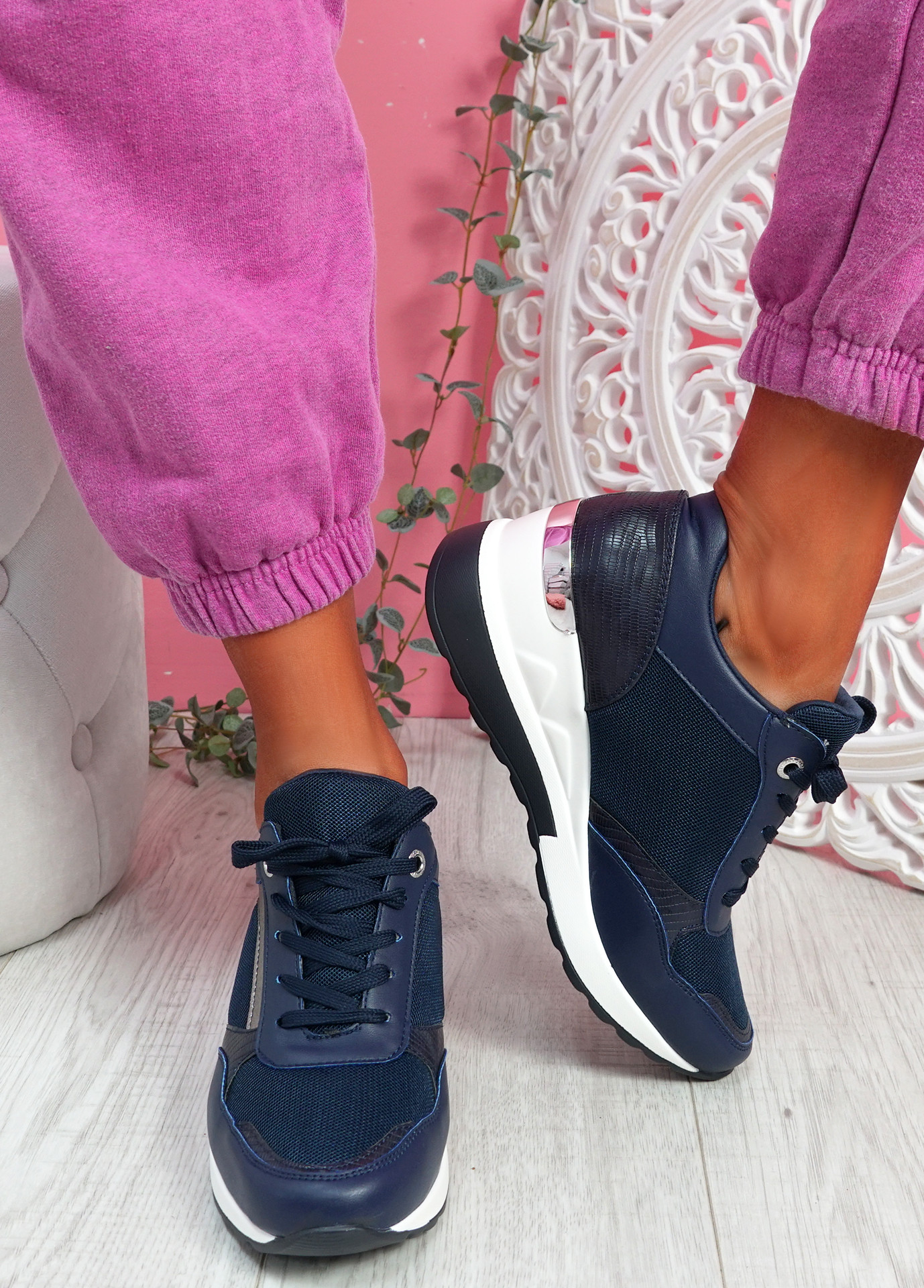 Goze Blue Wedge Trainers
