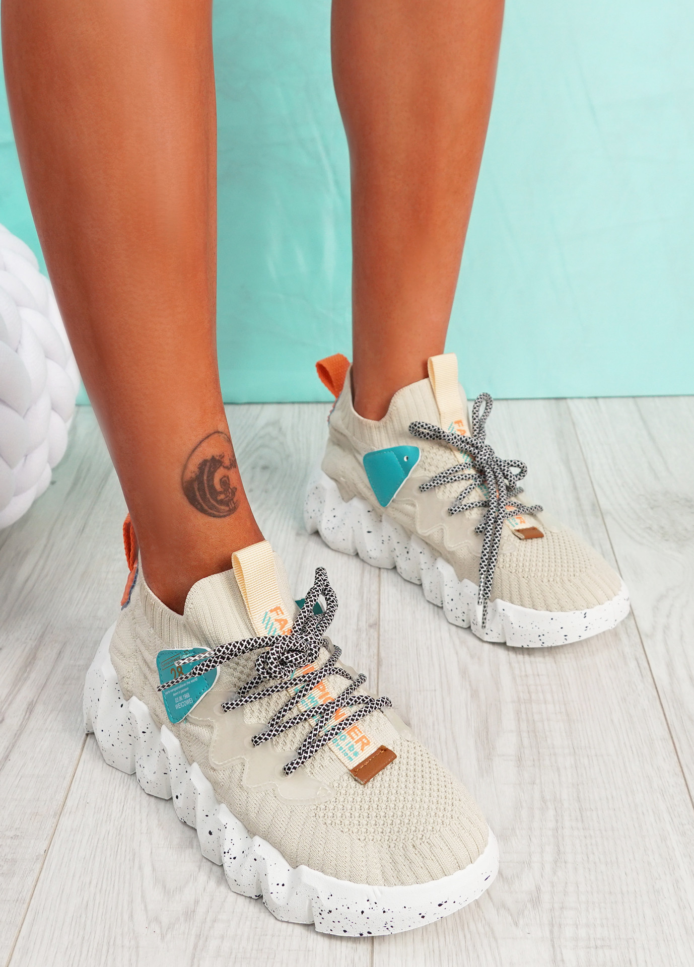 Monno Beige Chunky Trainers