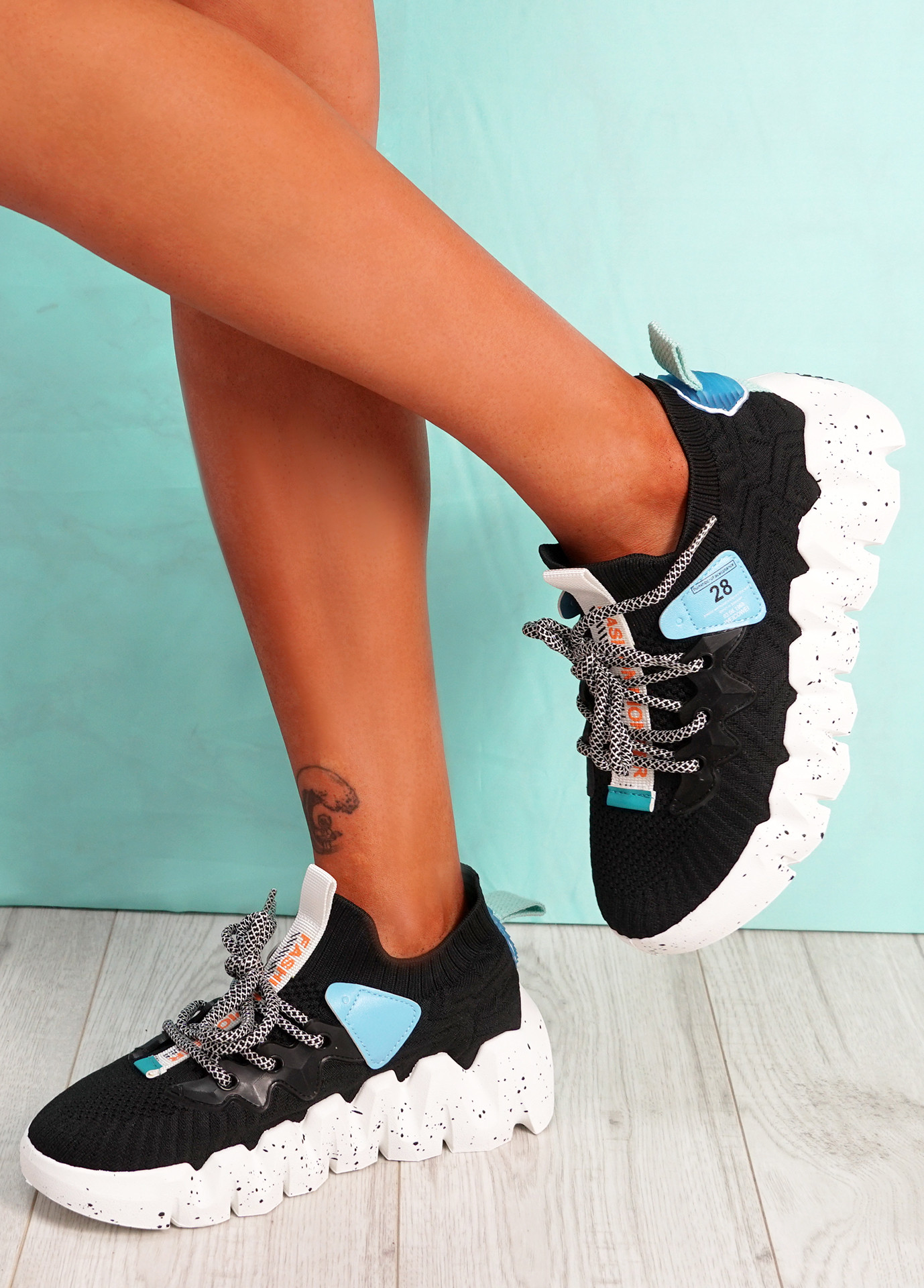 Monno Black White Sole Chunky Trainers