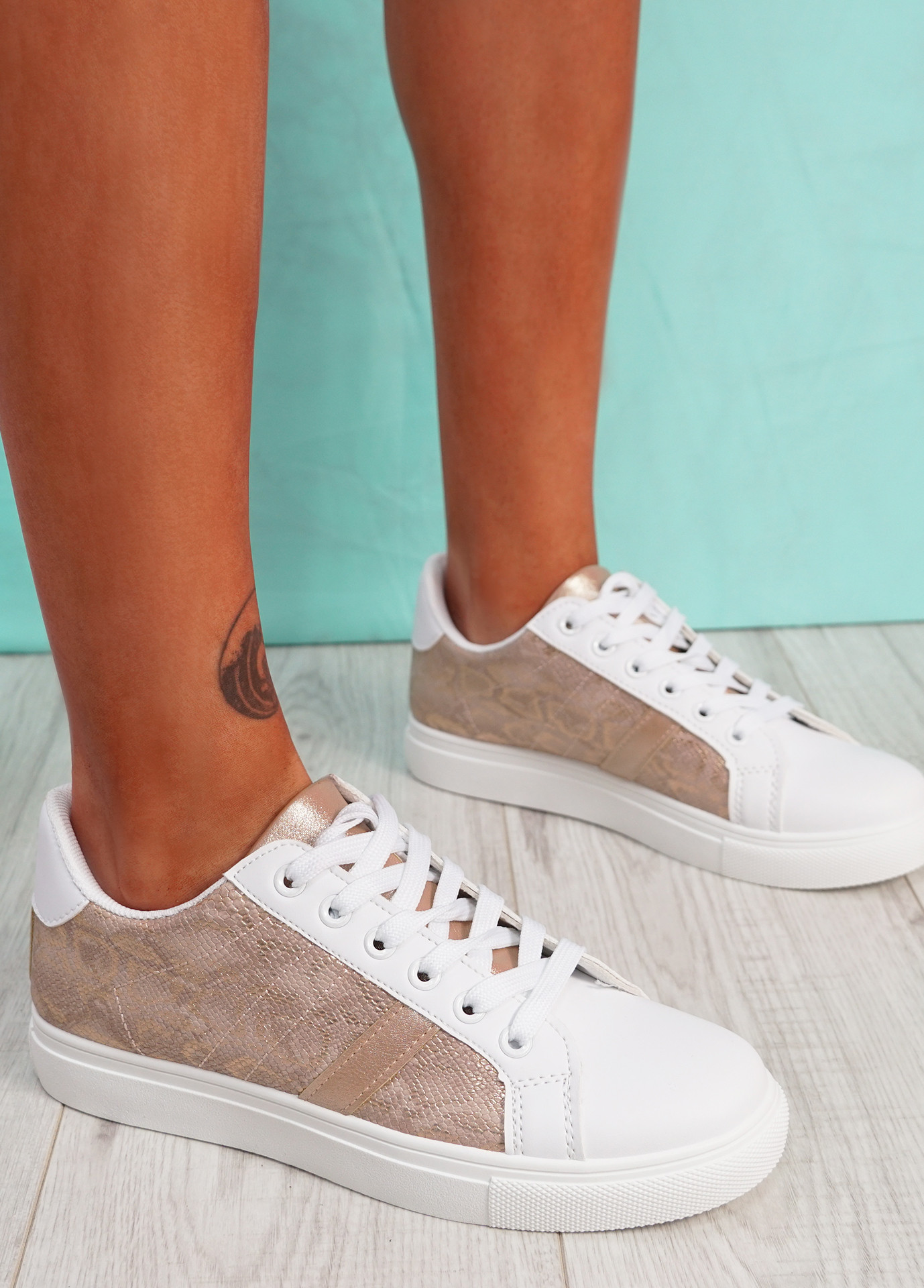 Ronno Champagne Snake Pattern Trainers