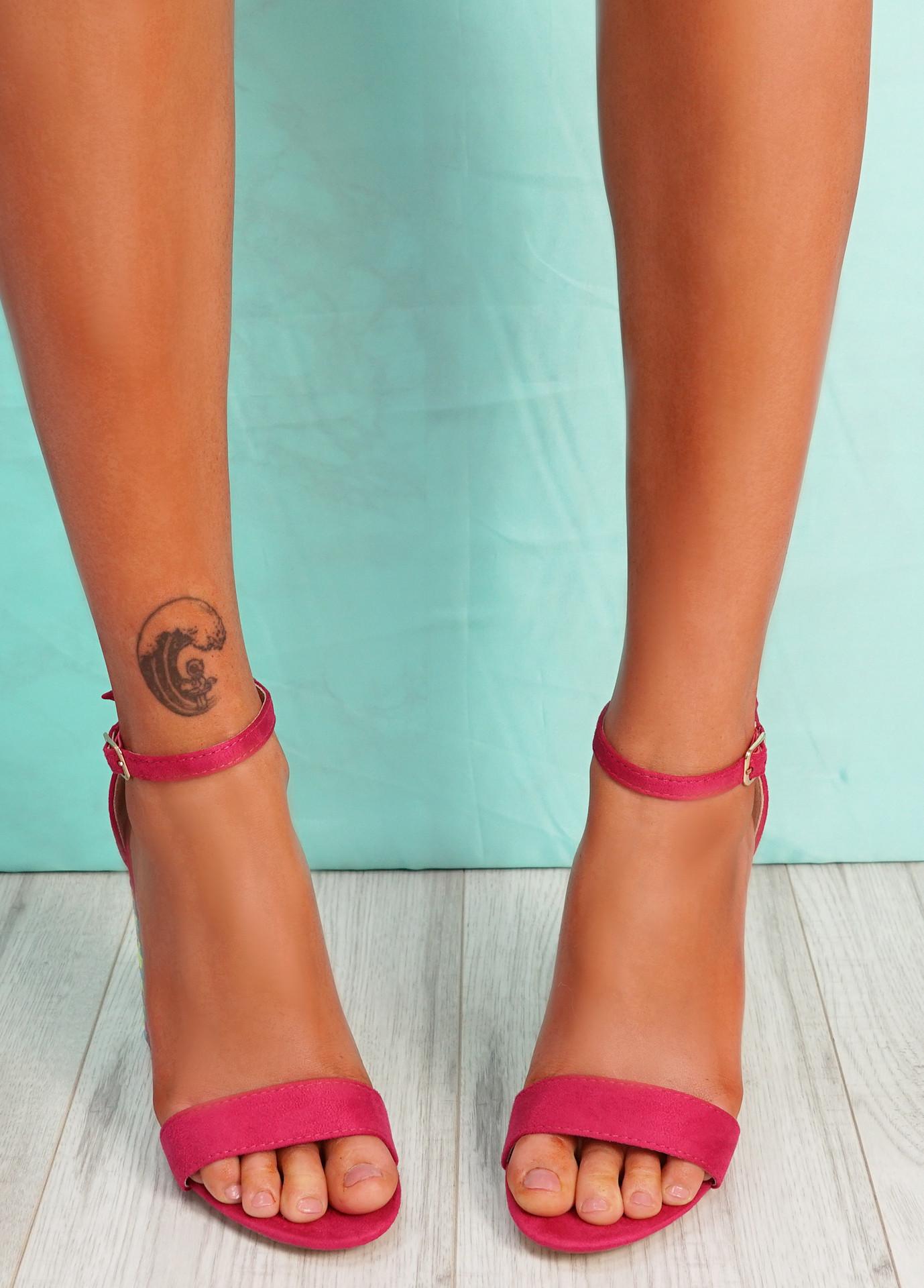 Uppo Fuchsia Multicolor Block Heel Sandals