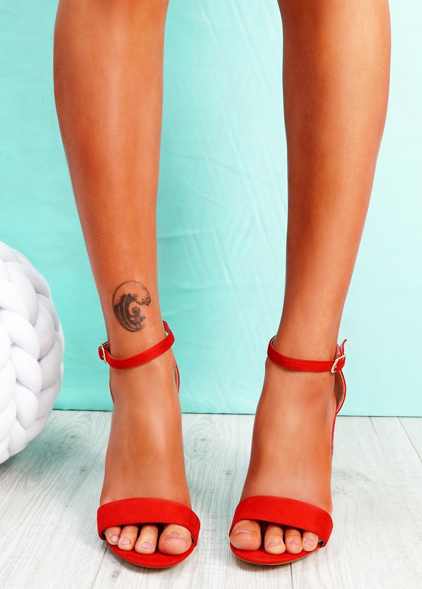Uppo Red Multicolor Block Heel Sandals