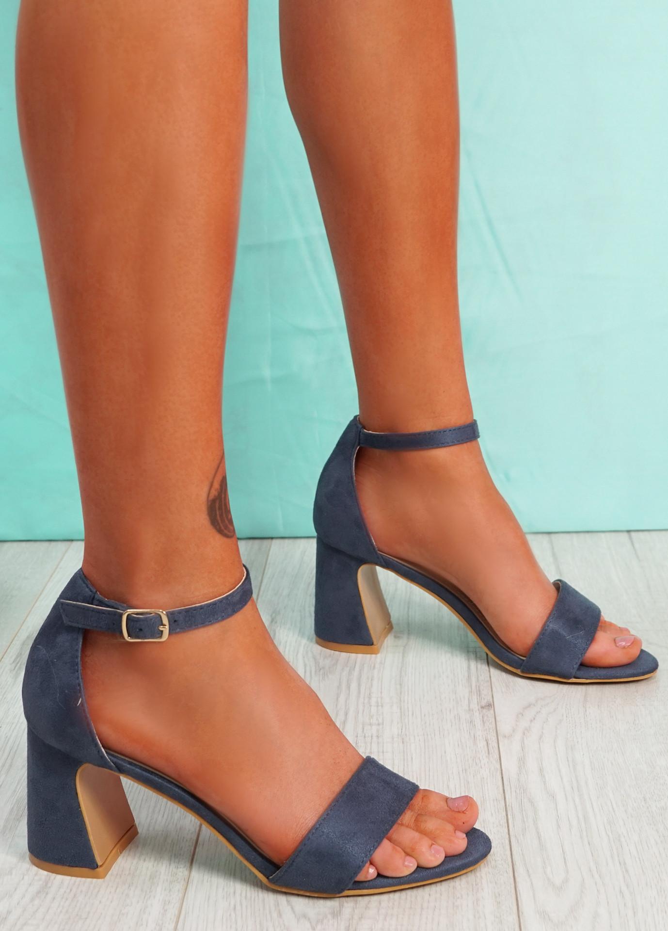 Gimmy Blue Block Heel Sandals